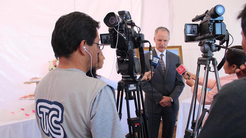 Elder Mattias Held speaks to the press at the Quito Ecuador Temple groundbreaking on Saturday, May 11, 2019.