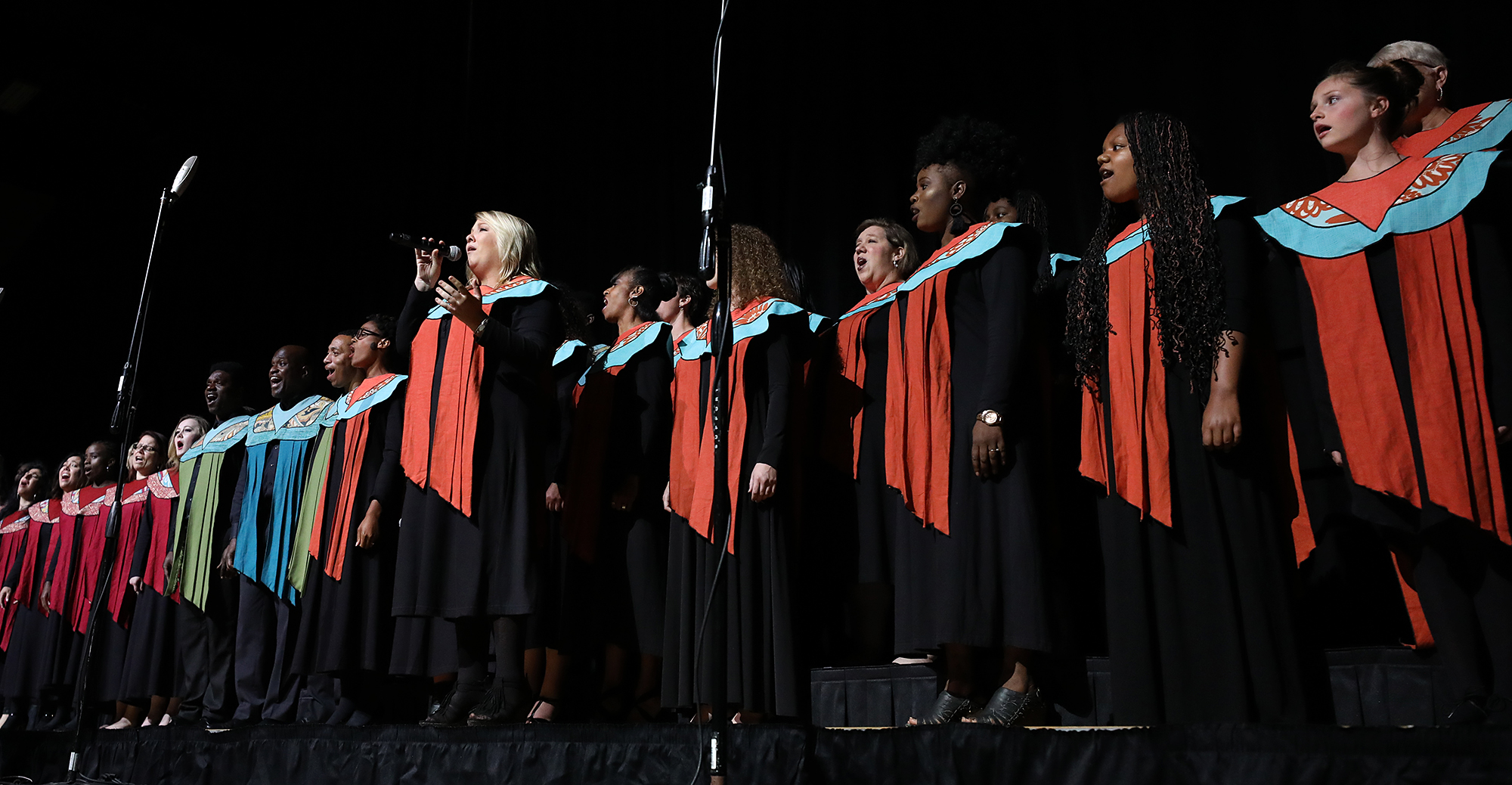 "Tierra Custer, center left, and other members of The Debra Bonner Unity Gospel Choir, an independent LDS choir, perform ""Calvary"" during the 109th NAACP Annual Convention at the Henry B. González Convention Center in San Antonio on Sunday, July 15, 2018."