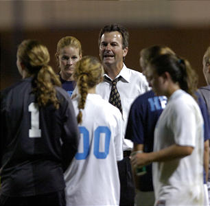Anson Dorrance gives his team some advice during a match in 2009. University of North Carolina