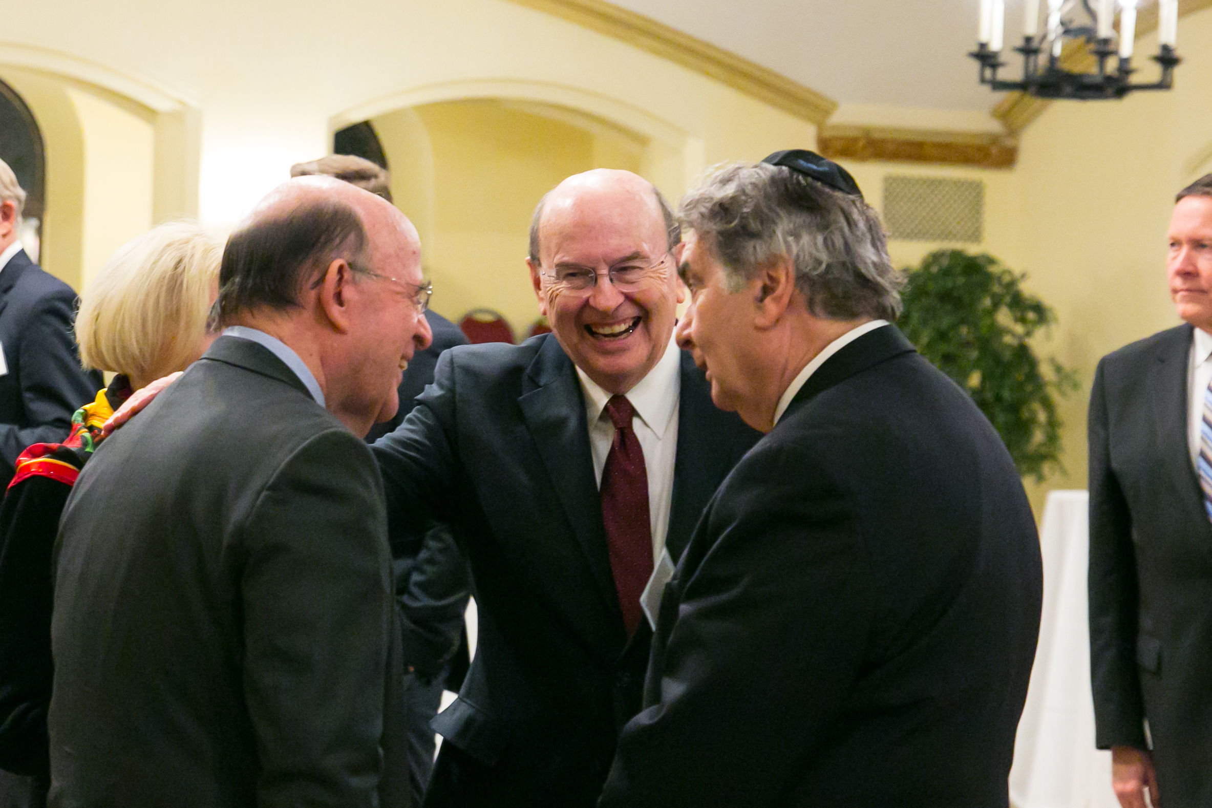 Robert Abrams, the former New York attorney general; Elder Quentin L. Cook of the Quorum of the Twelve Apostles; and Rabbi Joseph Potasnik, executive vice president of the New York Board of Rabbis, participate in a meeting sponsored by the New York Latter-day Saint Professional Association on Dec. 18, 2018.