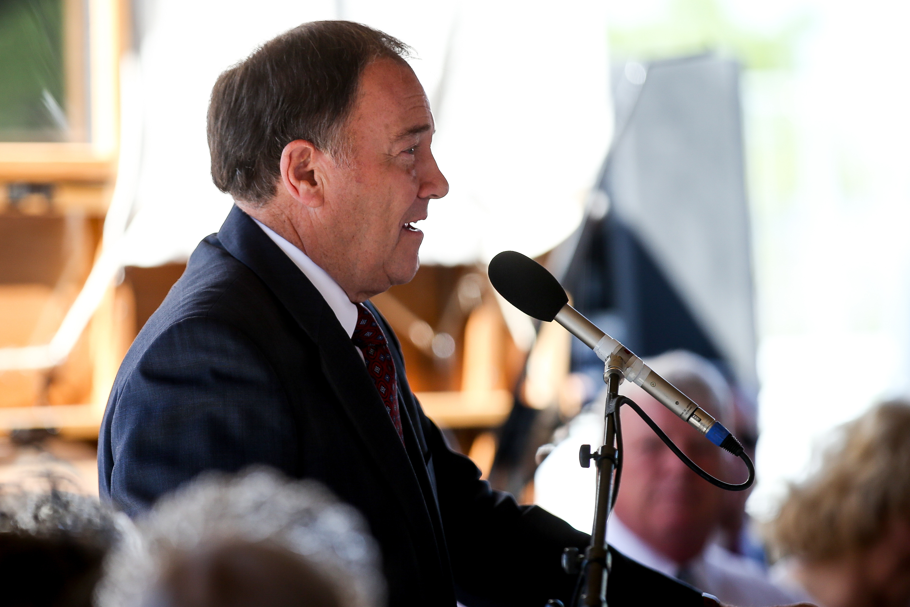 Gov. Gary Herbert speaks at the dedication of the Children's Pioneer Memorial at This Is the Place Heritage Park in Salt Lake City on Saturday, July 20, 2019.