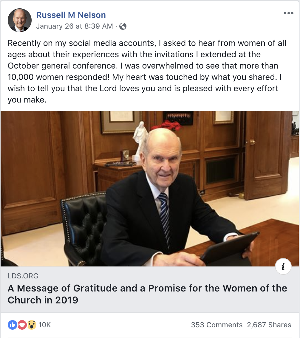 "President Nelson thanked the women of the Church for their diligent efforts in completing his challenge in a Facebook post on Jan. 26. ""I wish to tell you that the Lord loves you and is pleased with every effort you make."""