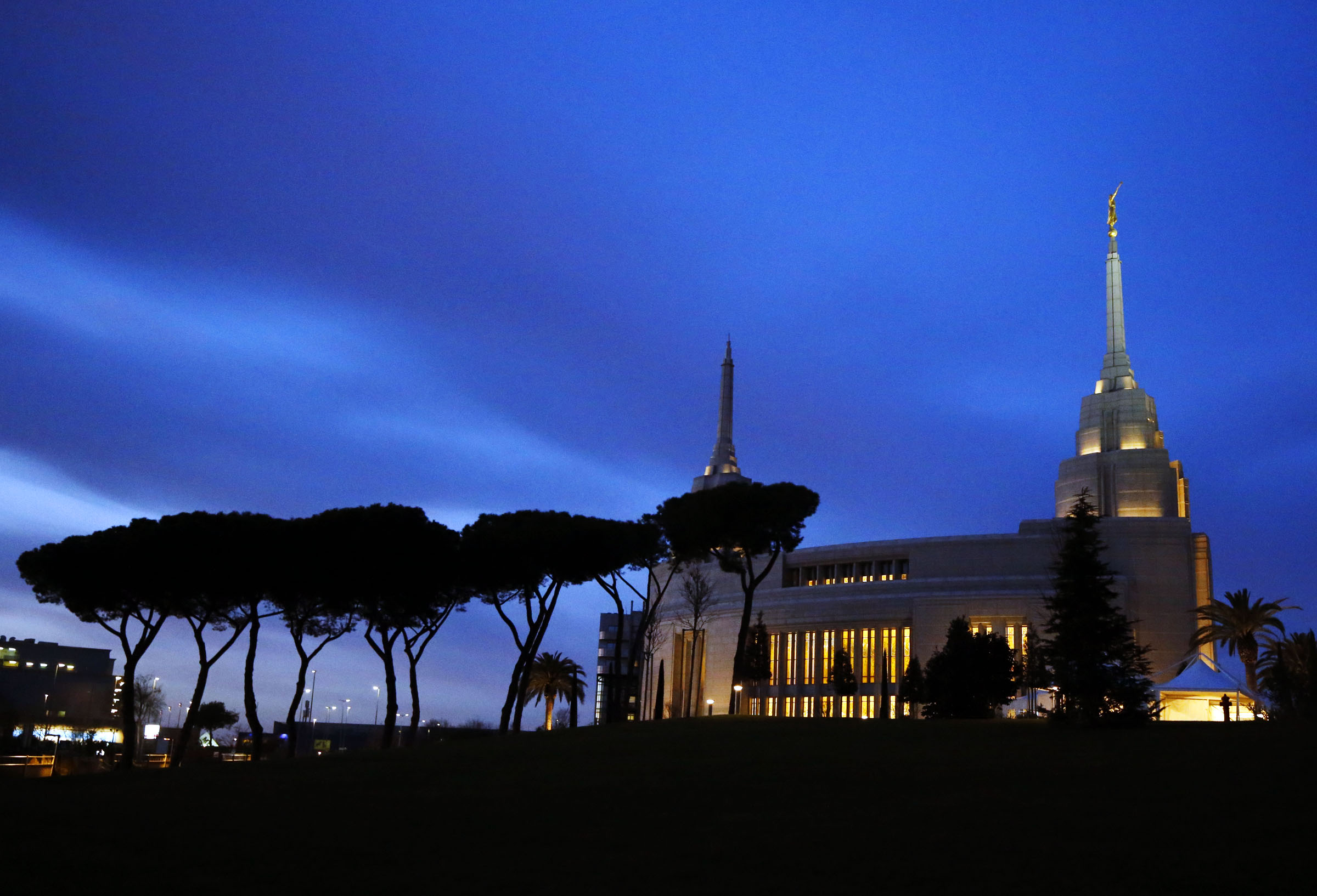 The Rome Italy Temple of The Church of Jesus Christ of Latter-day Saints is pictured after sunset on Sunday, Jan. 13, 2019.