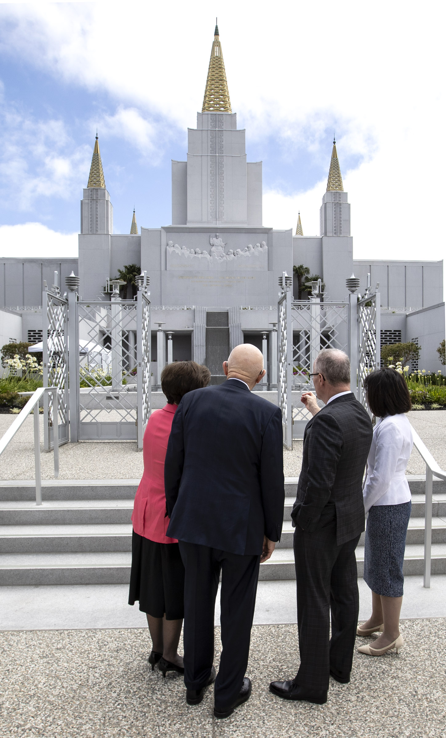 Thomas E. Coburn, managing director of the Temple Department, and his wife, Ana María Coburn, right, point out new areas of the Oakland California Temple as President Dallin H. Oaks, first counselor in the First Presidency, and his wife, Sister Kristen Oaks, arrive for a walk-through on Saturday, June 15, 2019.