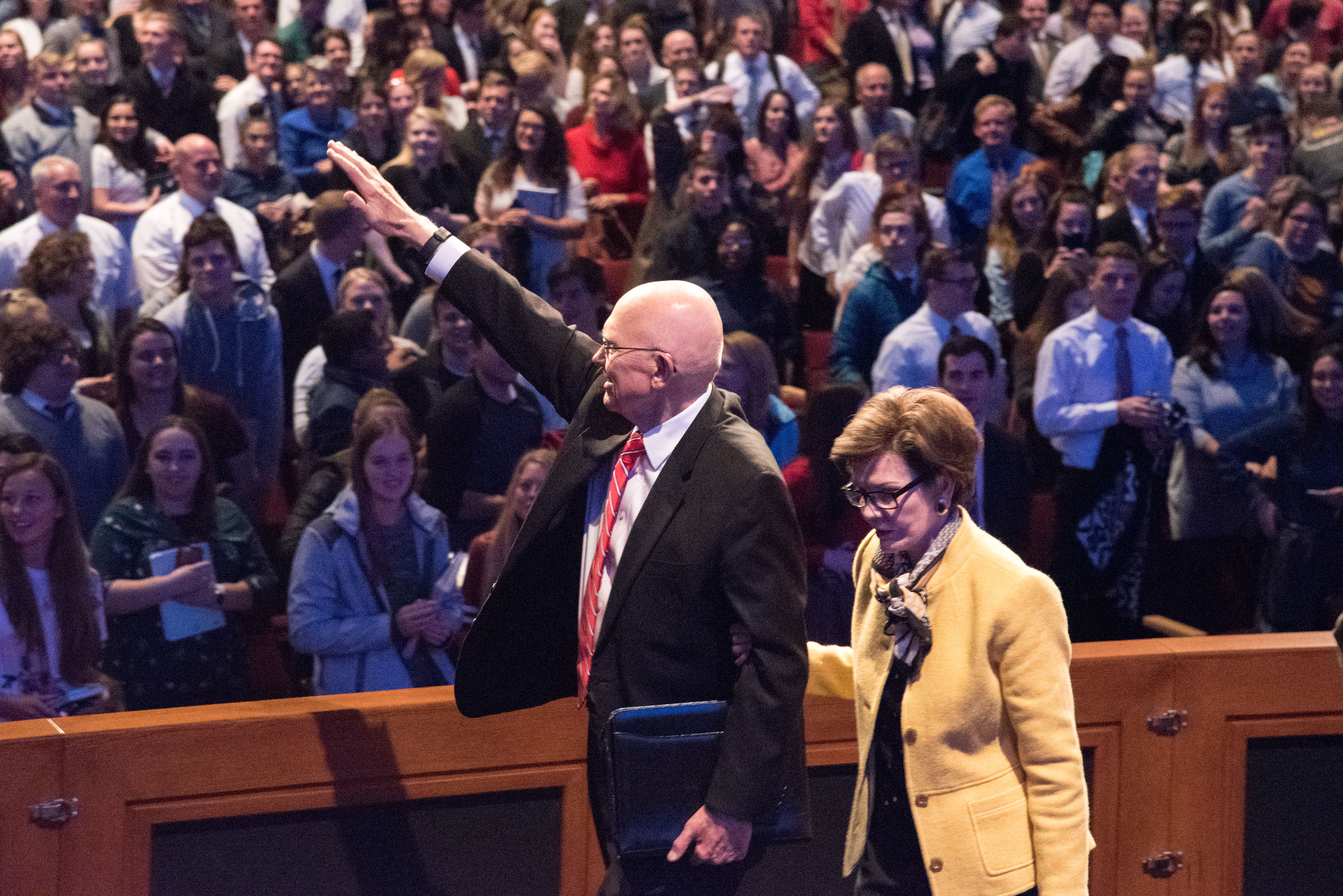 President Dallin H. Oaks of the First Presidency waves to BYU-Idaho students who attended his BYU-Idaho campus devotional talk on Oct. 30.