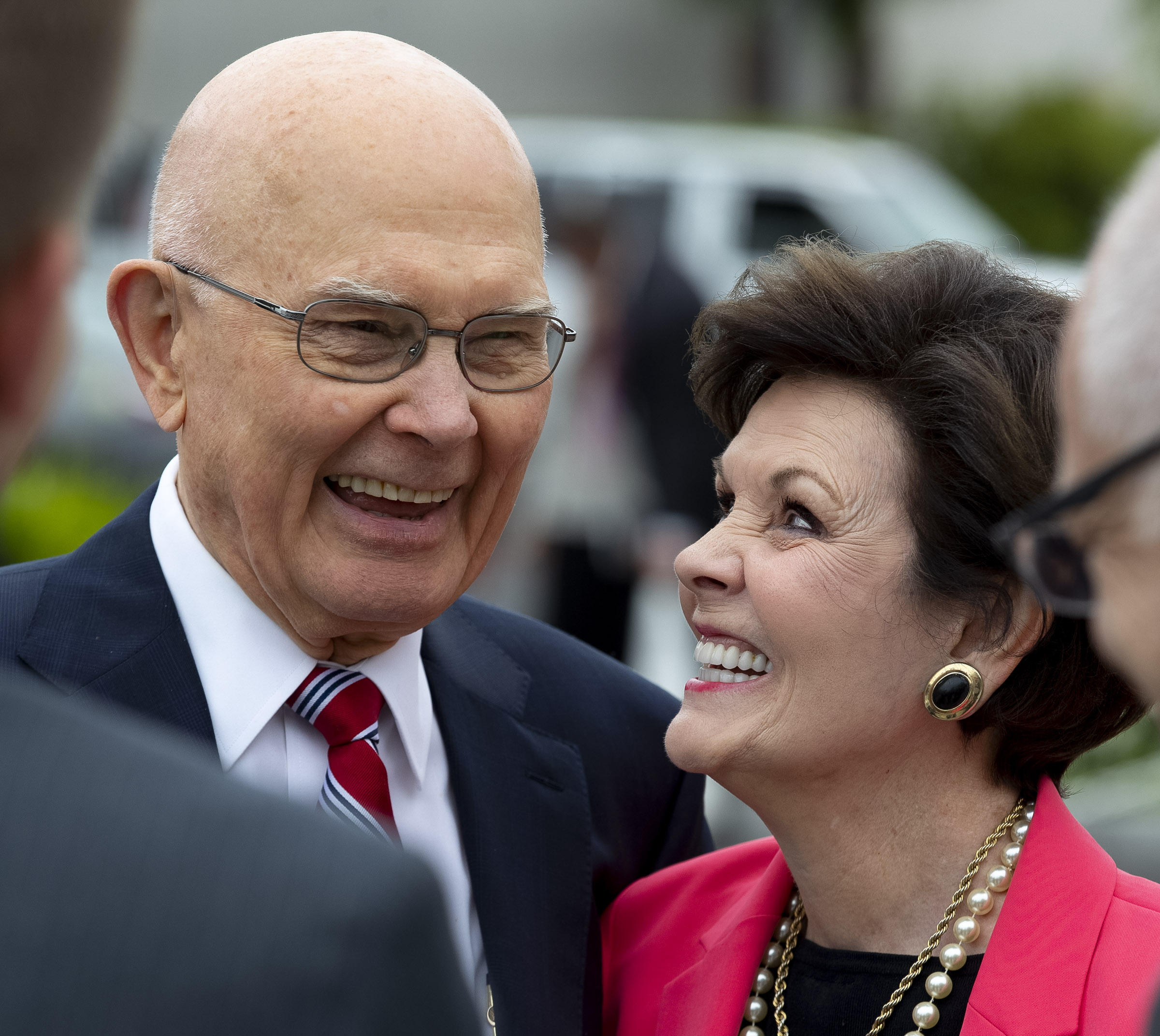 President Dallin H. Oaks, first counselor in the First Presidency, and his wife, Sister Kristen Oaks, smile as they talk about the beauty of the Oakland California Temple following a walk-through on Saturday, June 15, 2019.