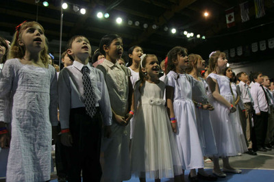 """Vancouver Youth Temple Celebration, """"A Beacon to the World,"""" held in conjunction with the dedication of the Vancouver British Columbia Temple."""