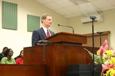 Elder David A. Bednar of the Quorum of the Twelve, speaking at the general session.