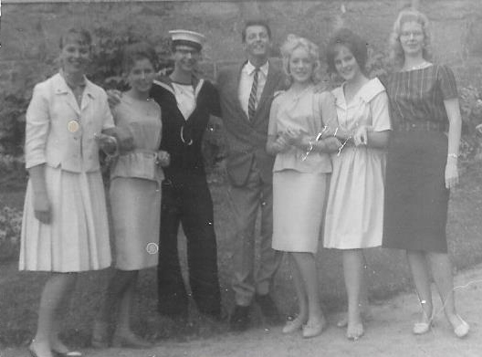 From left: Daila Vizulis, Lisbeth Pettersson, a visiting sailor, Bert Mattsson, Margareta Johansson, another member of their ward and Lena Lindberg.
