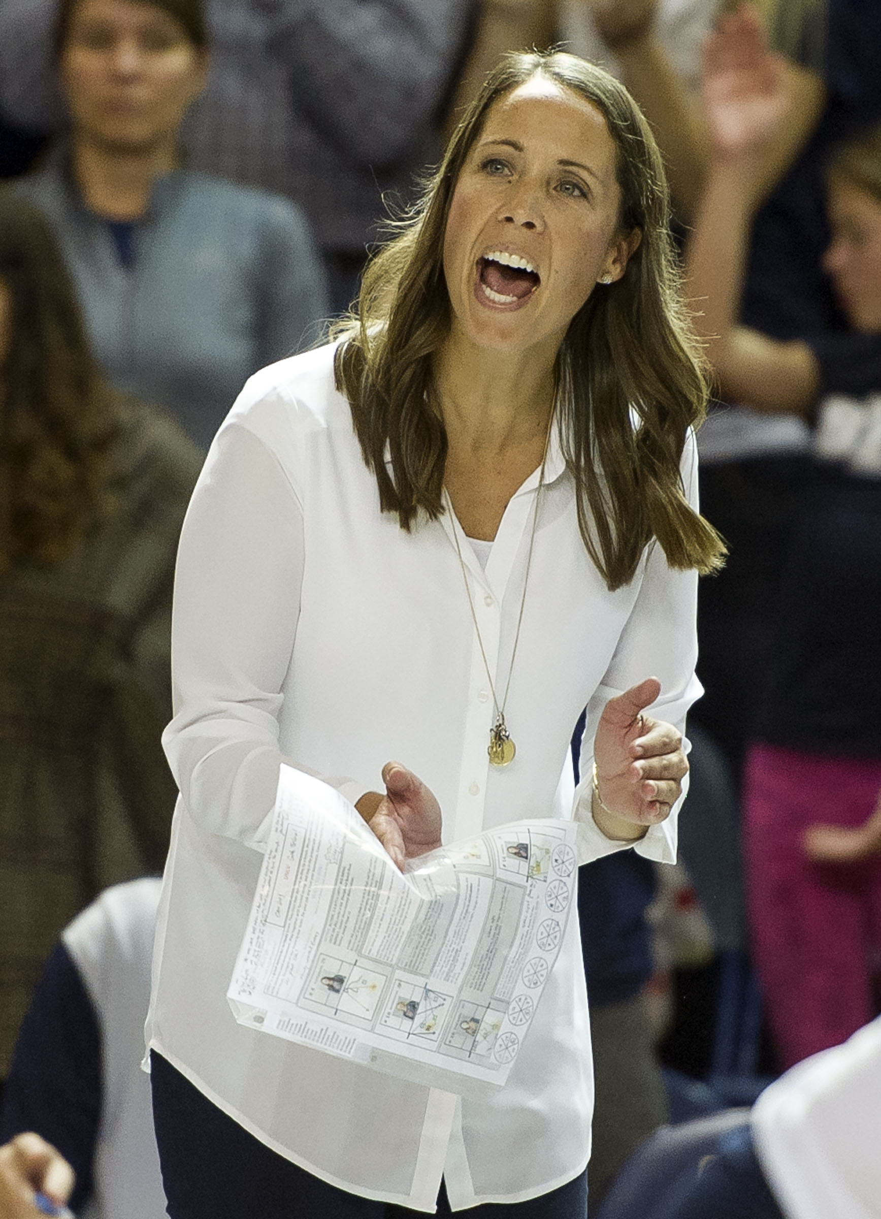 BYU head coach Heather Olmstead cheers on her team during an NCAA volleyball playoff game against UNLV in Provo on Saturday, Dec. 3, 2016. BYU swept UNLV 3-0 to advance onto the Sweet 16.