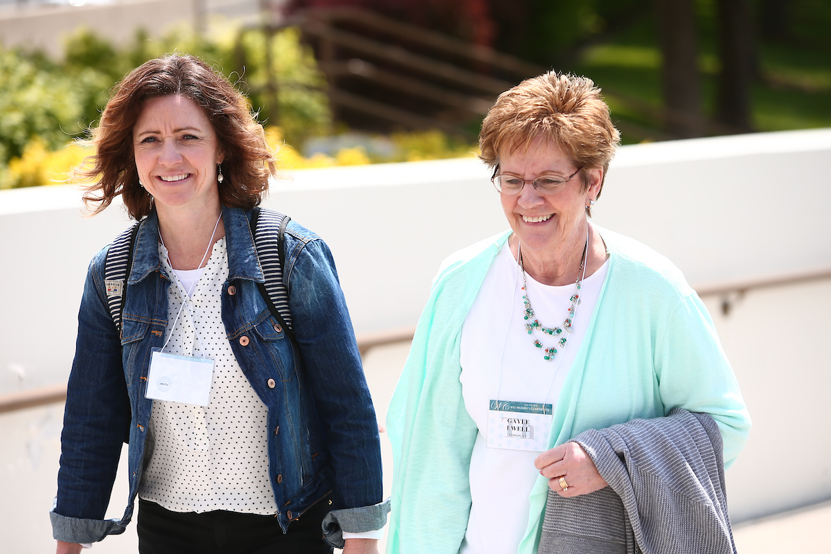 Women walk on the BYU campus during BYU Women's Conference held on May 3.