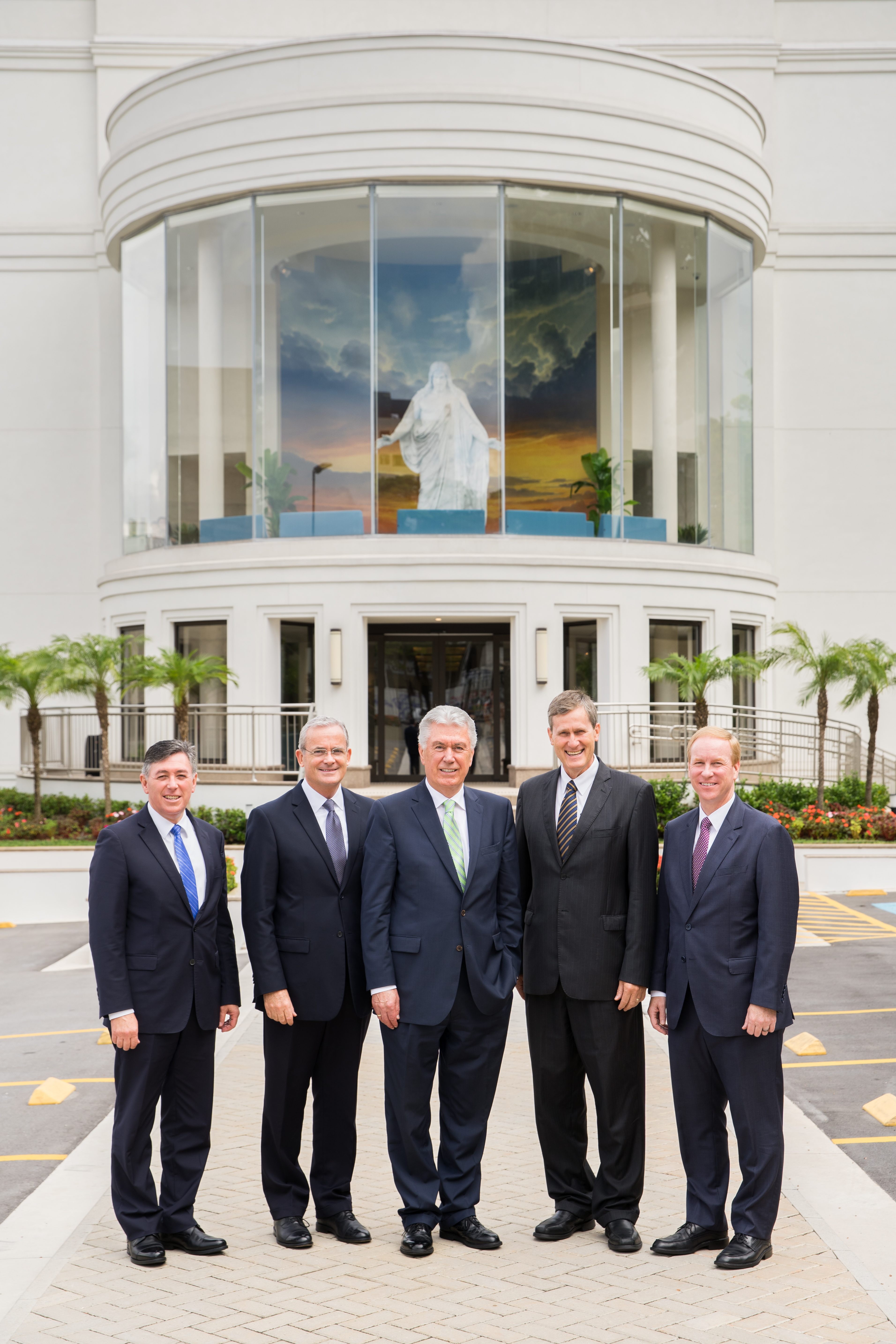 Standing outside the recently opened Sao Paulo Brazil Temple Visitors' Center is, from left, Elder Adilson de Paula Parrella, second counselor in the Brazil Area presidency; Elder Patrick Kearon of the Presidency of the Seventy; Elder Dieter F. Uchtdorf of the Quorum of the Twelve Apostles; Elder Marcos A. Aidukaitis, president of the Brazil Area; and Elder W. Mark Bassett, first counselor in the Brazil Area presidency.