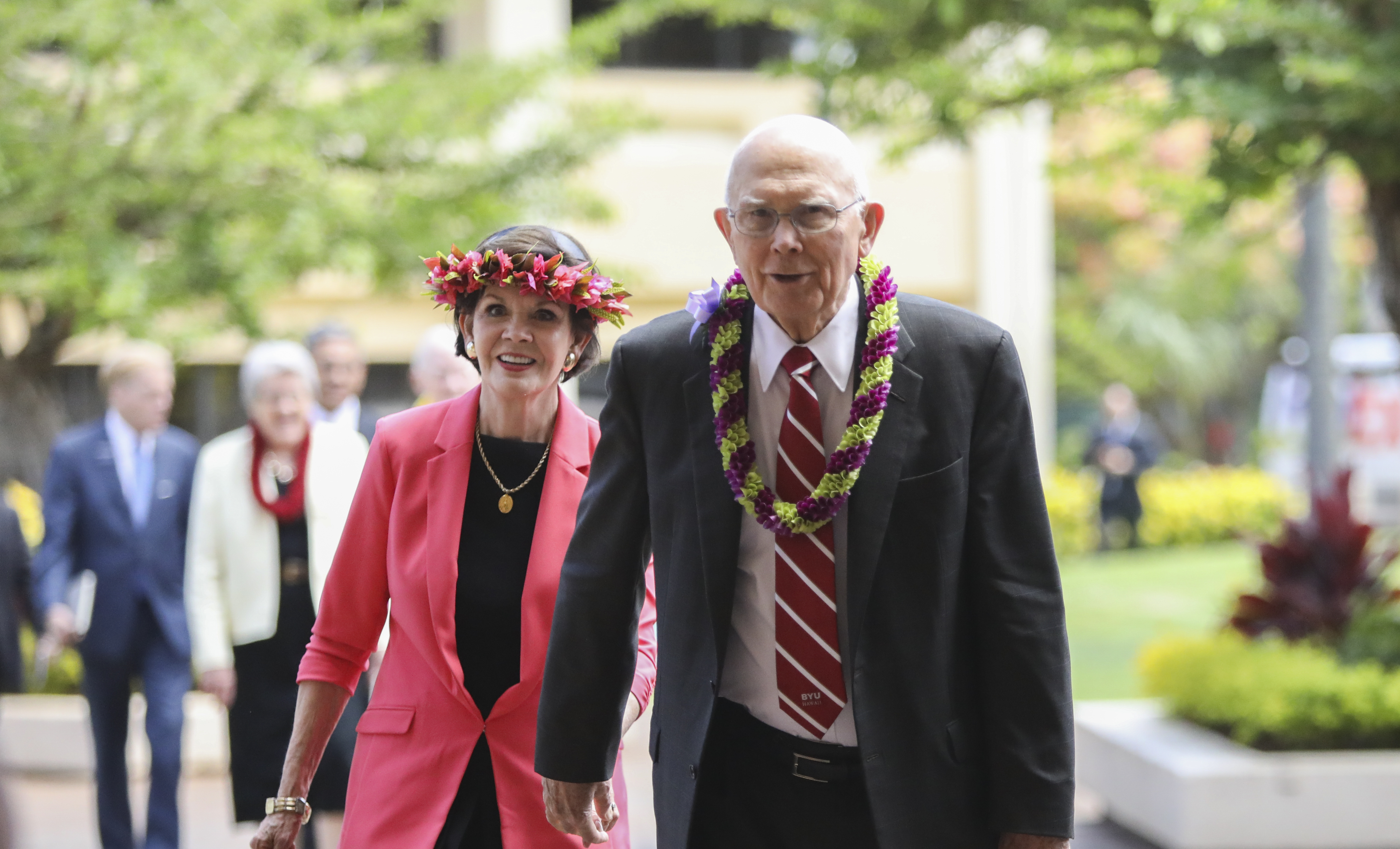 President Dallin H. Oaks, center, arrives at the George Q. Cannon Activities Center with his wife, Sister Kristen Oaks, before a BYU-Hawaii devotional on June 11, 2019.