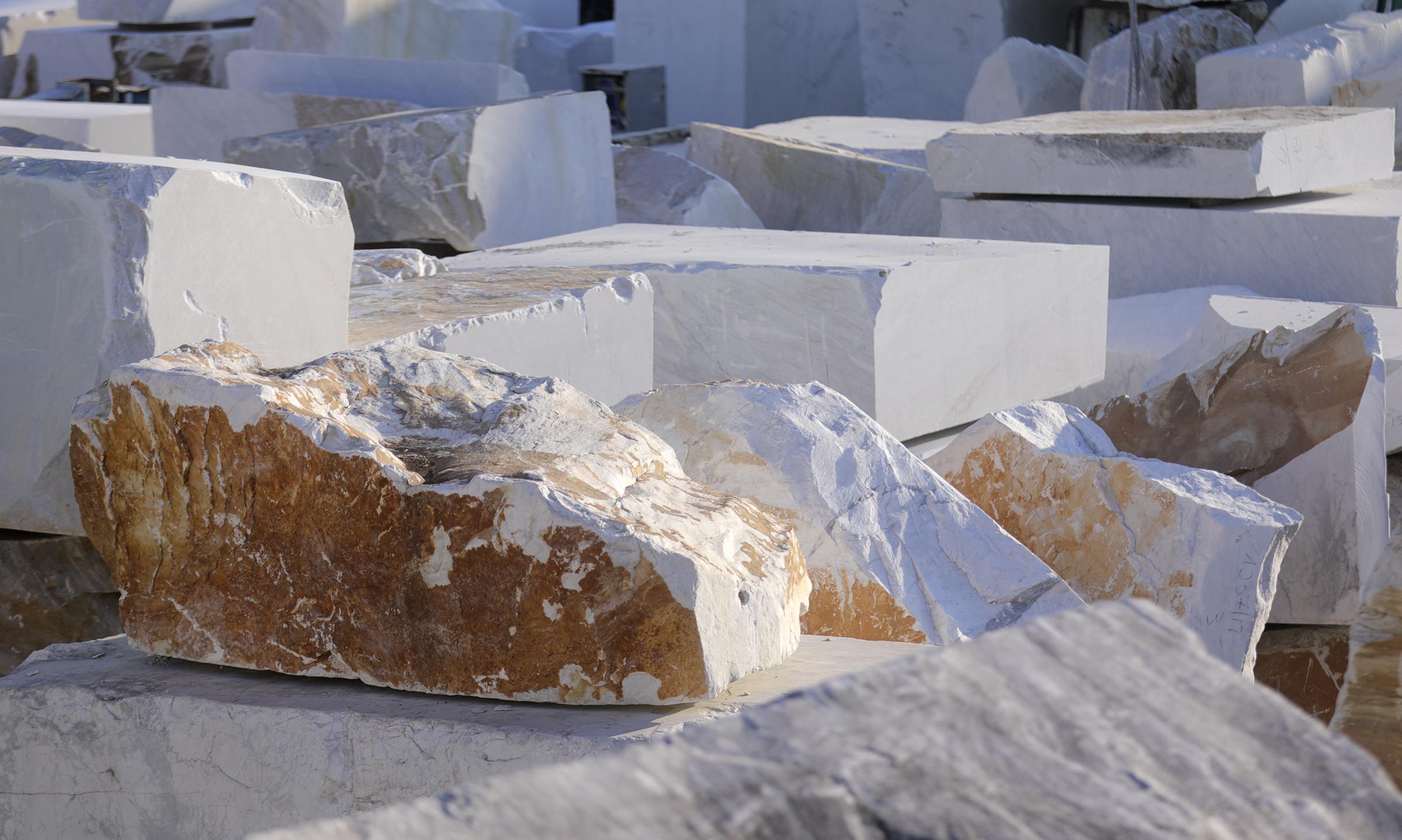 Blocks of marble in Carrara, Italy, on Thursday, Nov. 15, 2018.