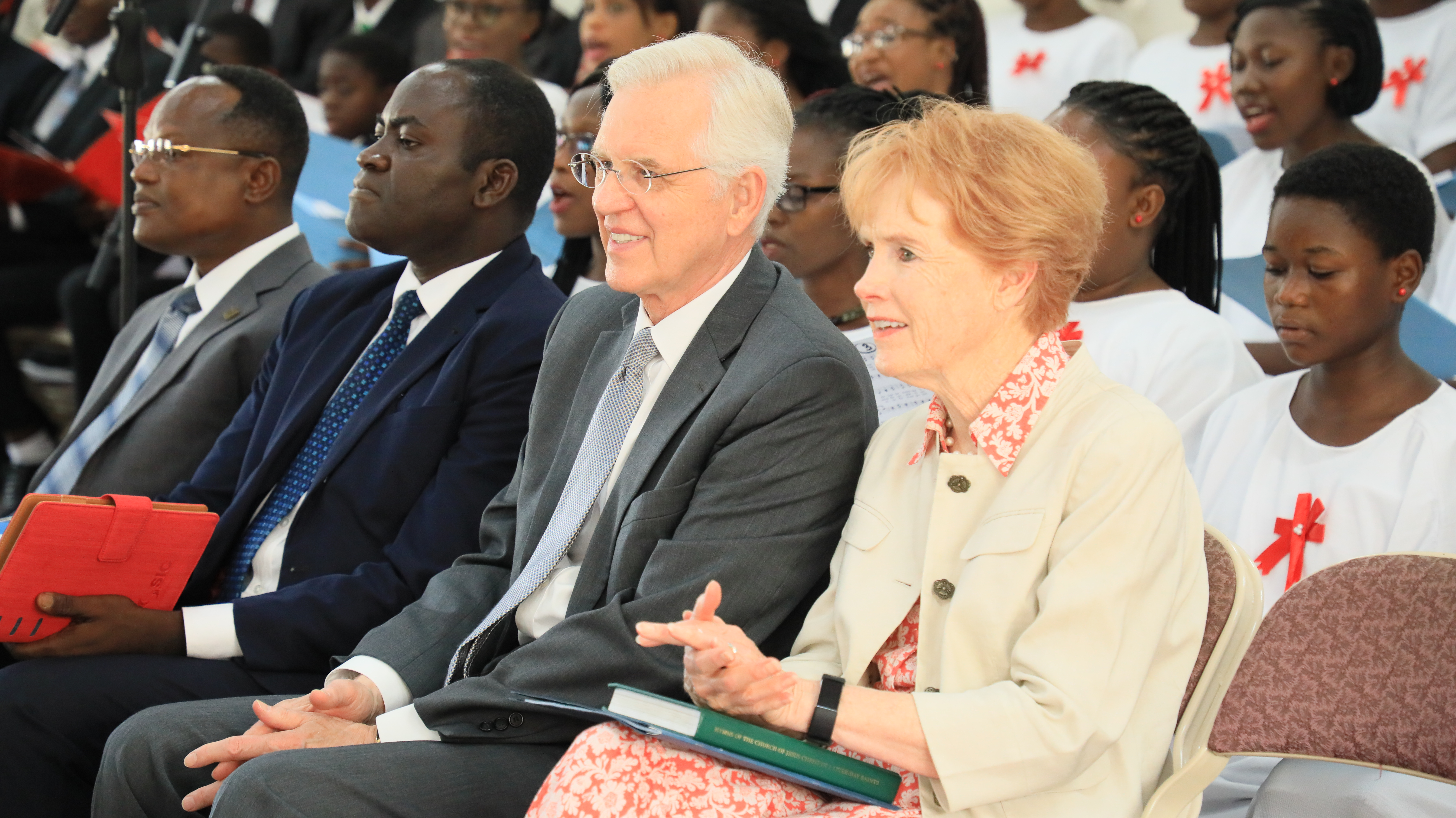 Elder D. Todd Christofferson and Sister Kathy Christofferson participate in a May 26, 2019, conference of the Accra Ghana Kaneshei Stake.