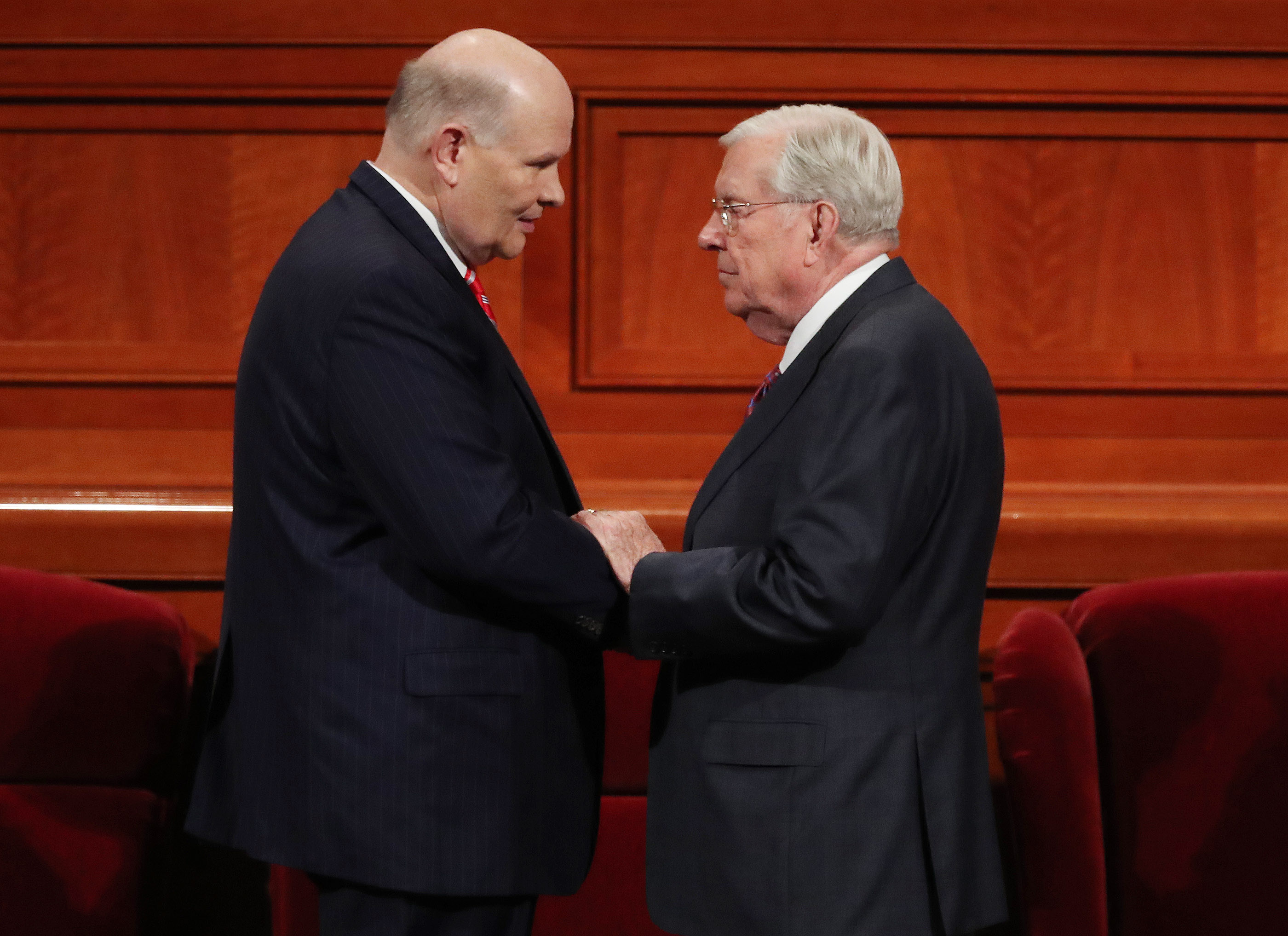 Elder Dale G. Renlund of the Quorum of the Twelve Apostles and President M. Russell Ballard, acting president of the Quorum of the Twelve Apostles, talk prior to the Sunday afternoon session of the 188th Semiannual General Conference of The Church of Jesus Christ of Latter-day Saints in the Conference Center in Salt Lake City on Sunday, Oct. 7, 2018.