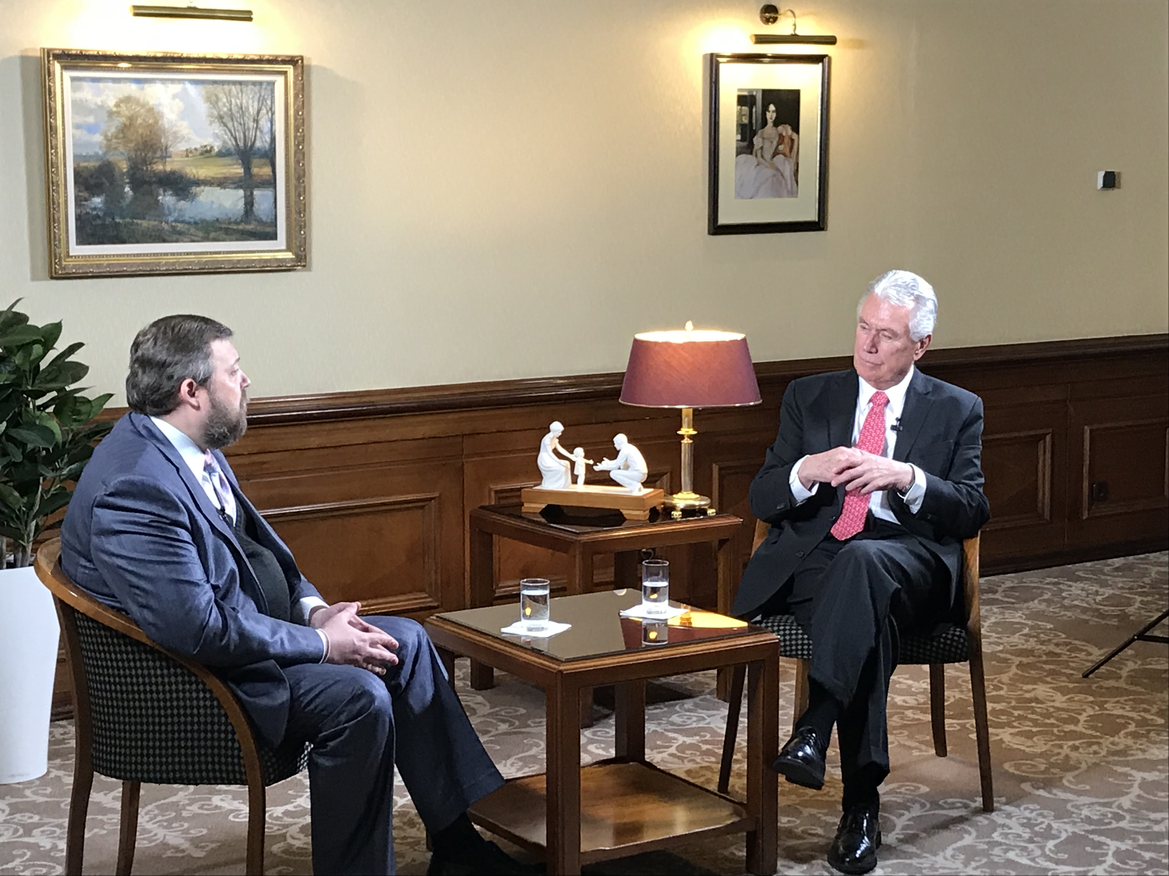 After the April 22, 2018, stake conference session in Moscow, Russia, Elder Dieter F. Uchtdorf is interviewed by Sergey Antonenko, a well-known journalist, historian and publicist. Also interviewed was Elder Alexey V. Samaykin, an Area Seventy in Russia.