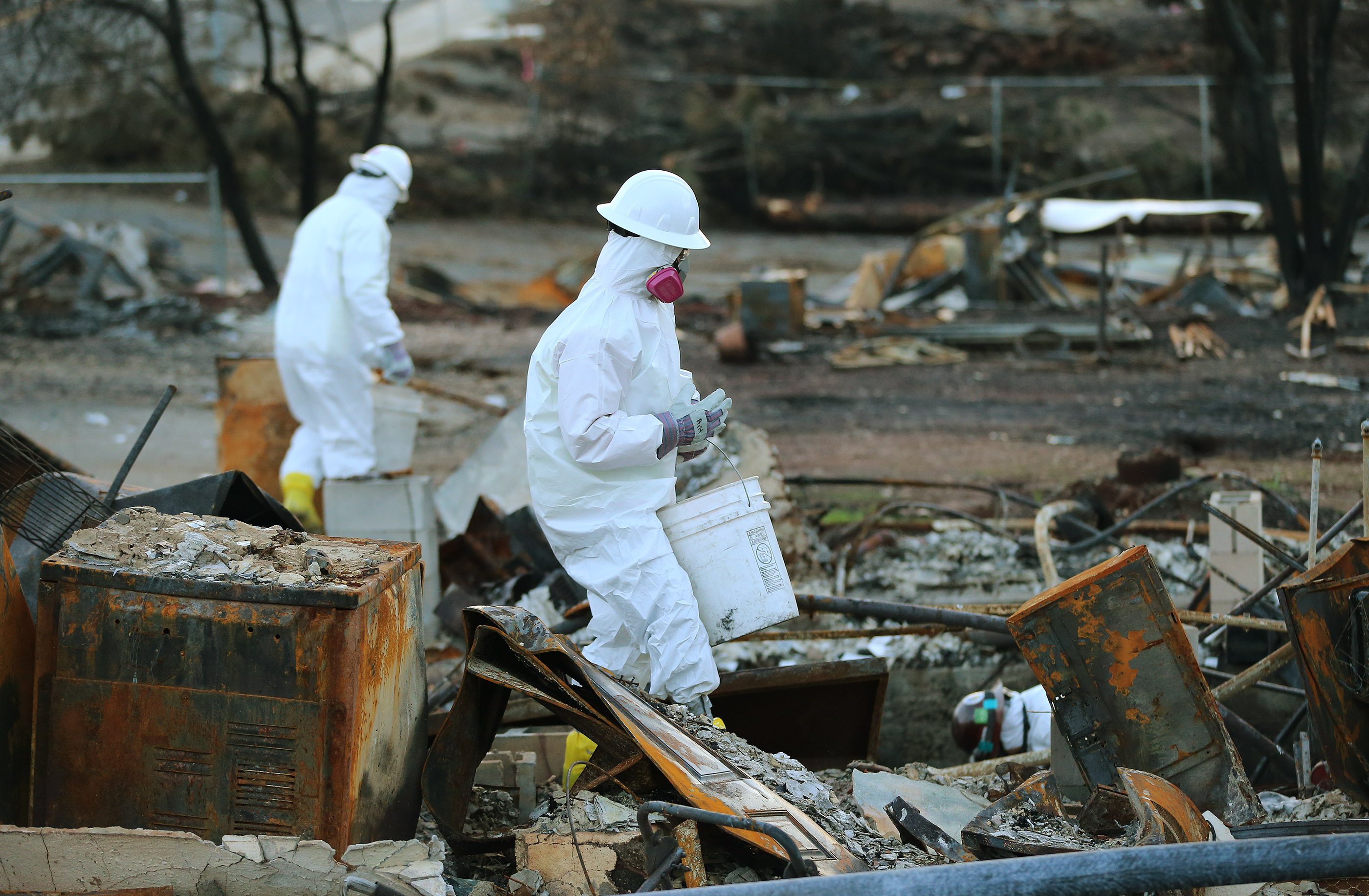 Hazardous materials are marked in Paradise, California, on Saturday, Jan. 12, 2019, two months after the Camp Fire destroyed more than 18,000 homes and businesses.