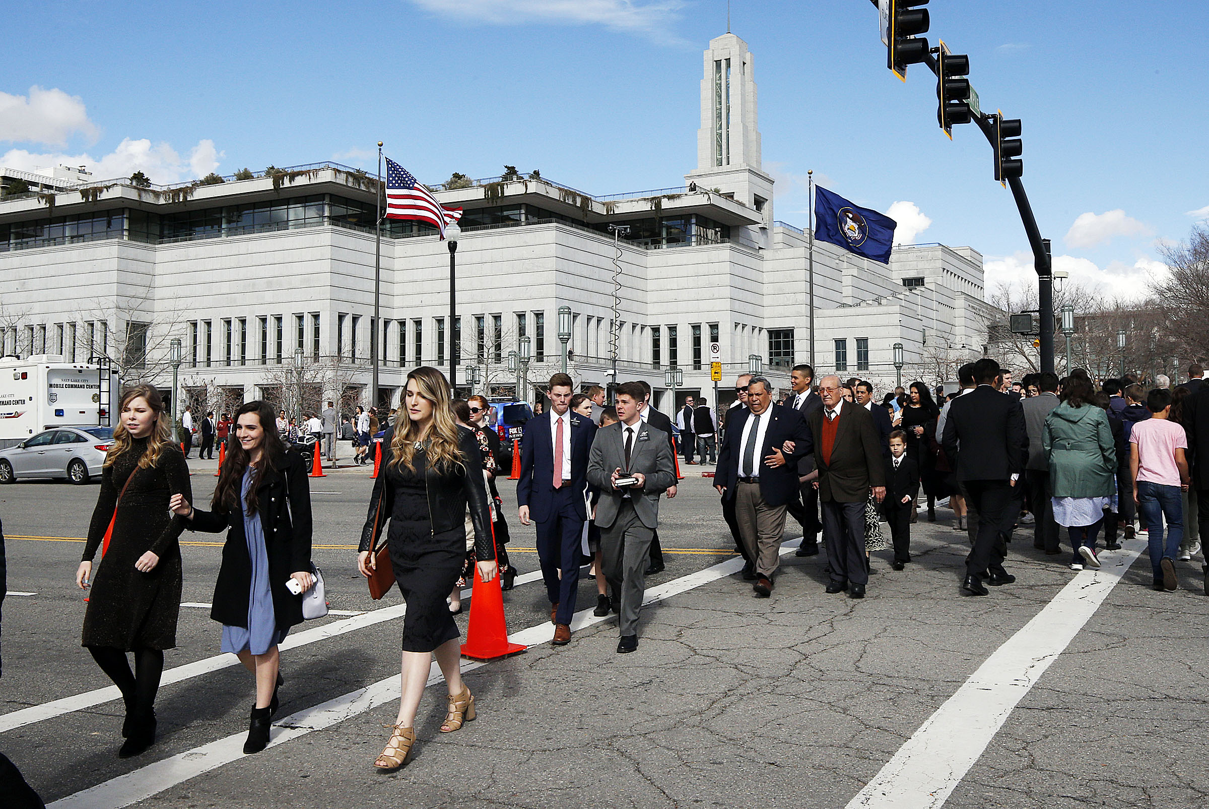 Conferencegoers walk from the Conference Center following the Saturday afternoon session of the 189th General Conference of The Church of Jesus Christ of Latter-day Saints in Salt Lake City on Saturday, April 6, 2019.