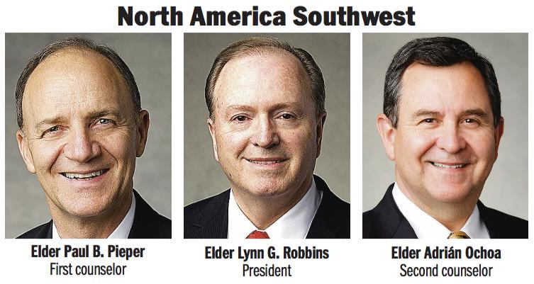 North America Southwest Area presidency: Elder Lynn G. Robbins, Elder Paul D. Pieper and Elder Adrián Ochoa.
