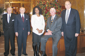 President Gordon B. Hinckley and counselors President James E. Faust, left, and President Thomas S. Monson, right, meet star performers Audra McDonald and Peter Graves in administration building.