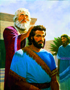 Melchizedek ordains Abraham in this Gary L. Kapp painting found in the Old Testament DVDs set.