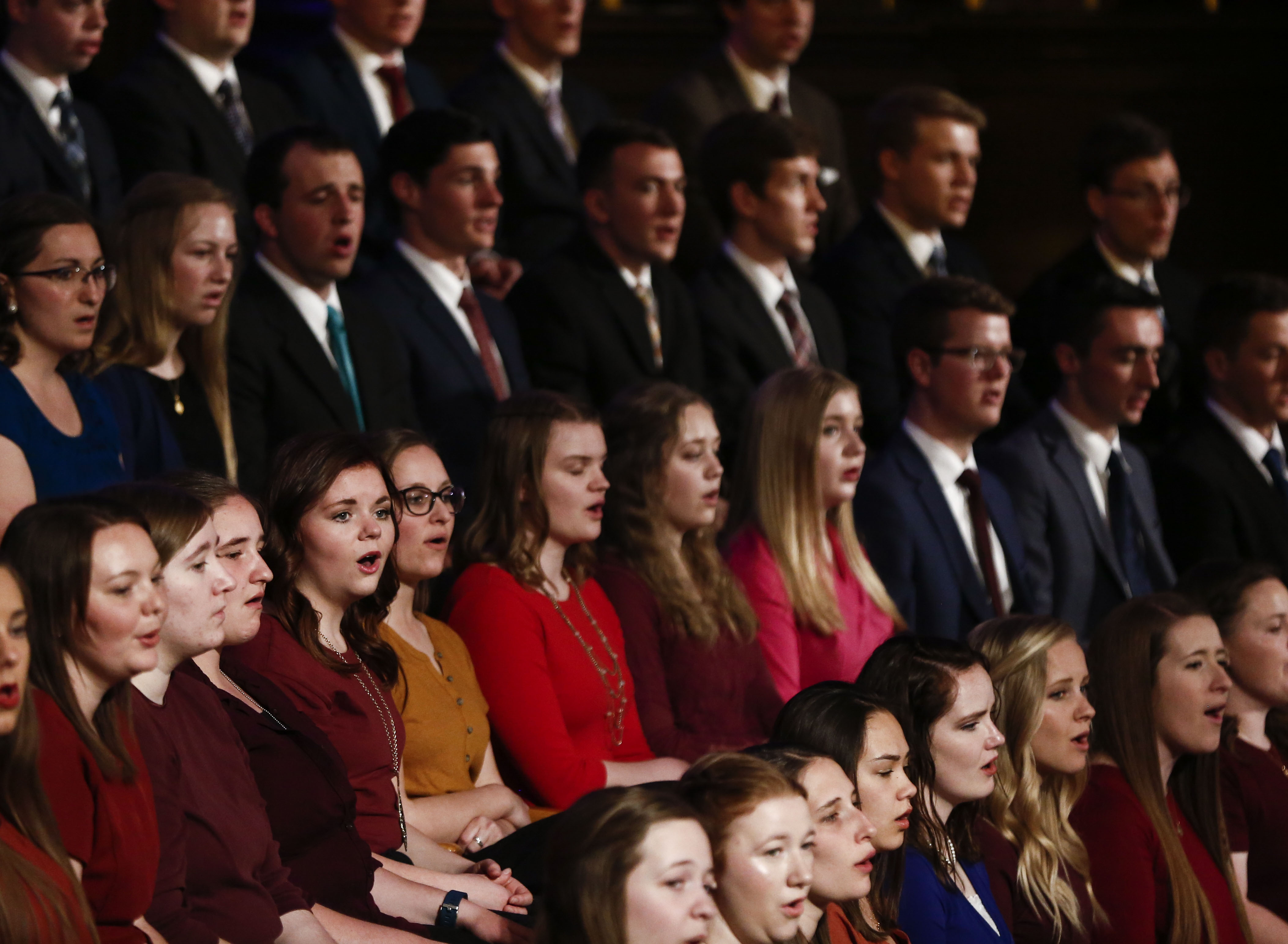 The choir preforms during the Worldwide Devotional for Young Adults at the Salt Lake Tabernacle in Salt Lake City on Sunday, May 5, 2019.