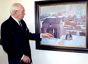 President Gordon B. Hinckley admires painting of old Nauvoo by artist Lane K. Newberry. It was presented in 1939 to President Hinckley's father, Bryant S. Hinckley, when he presided over the Northern States Mission, headquartered in Chicago, Ill. The painting now hangs in the Nauvoo Illinois Temple.