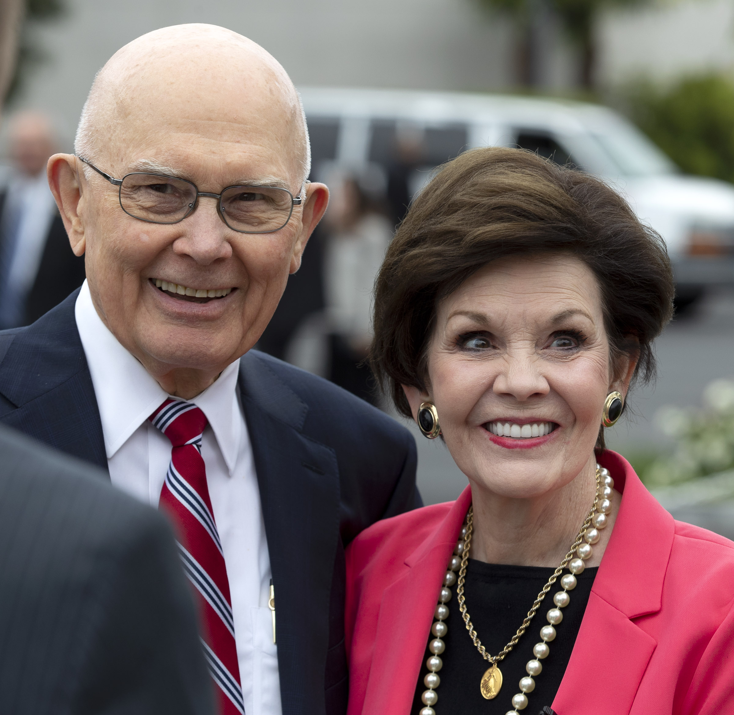 President Dallin H. Oaks, first counselor in the First Presidency, and his wife, Sister Kristen Oaks smile as they talk about the beauty of the Oakland California Temple following a walk-through on Saturday, June 15, 2019.