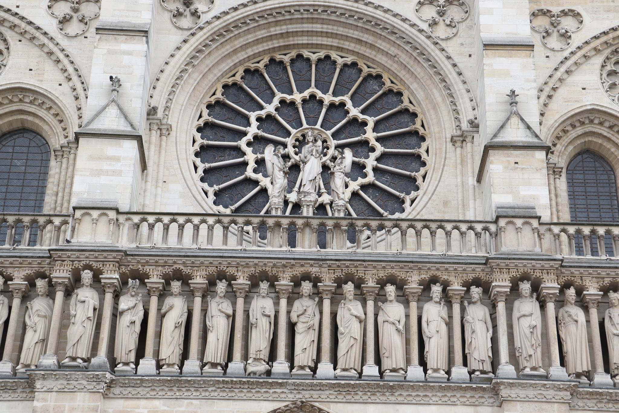 A view of the rose window in the west facade of Notre Dame Cathedral on May 18, 2017.