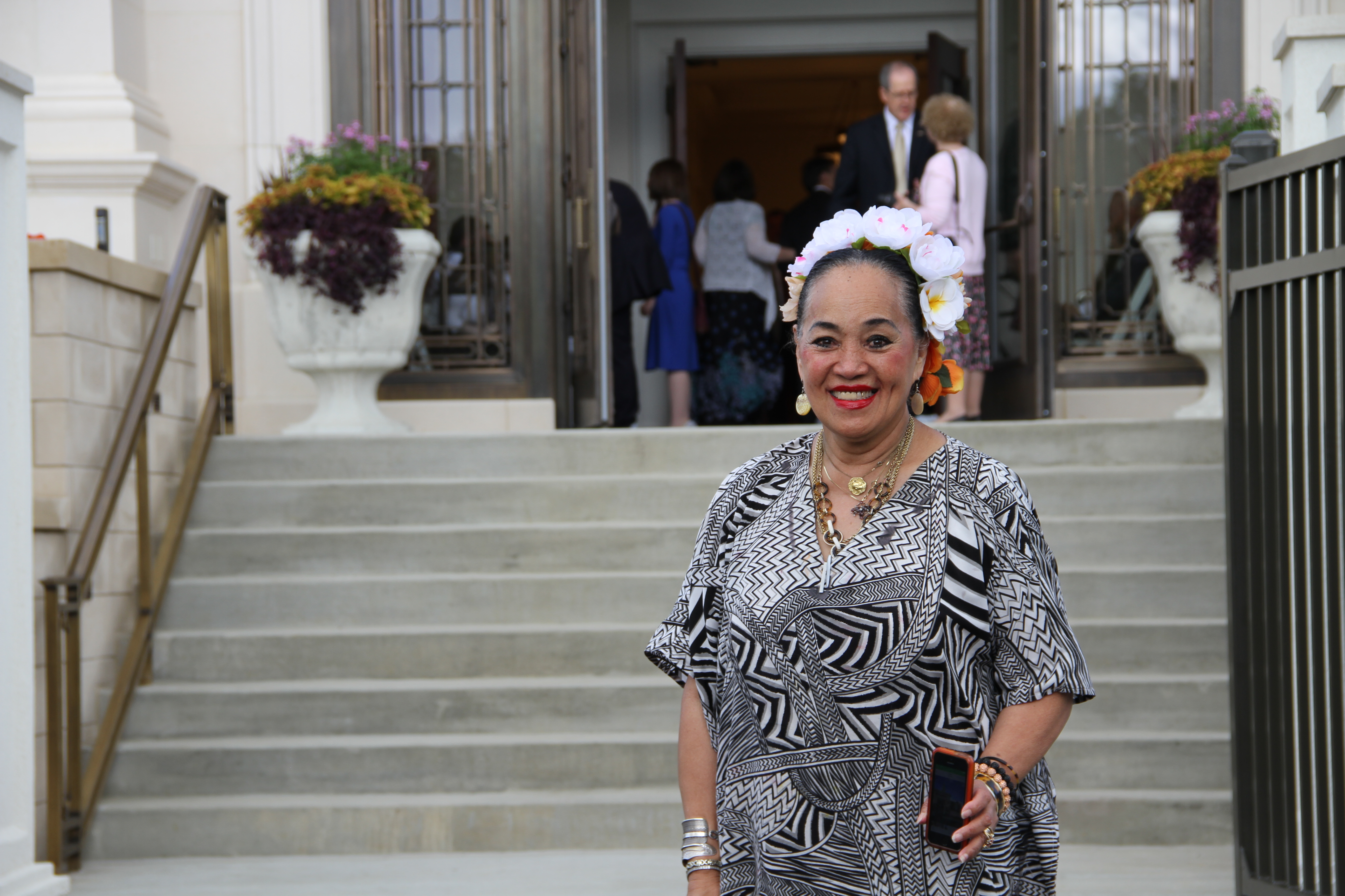 Rosemary Kent, a temple worker in the Memphis Tennessee Temple district poses in front of the temple prior to its rededication on May 5, 2019.