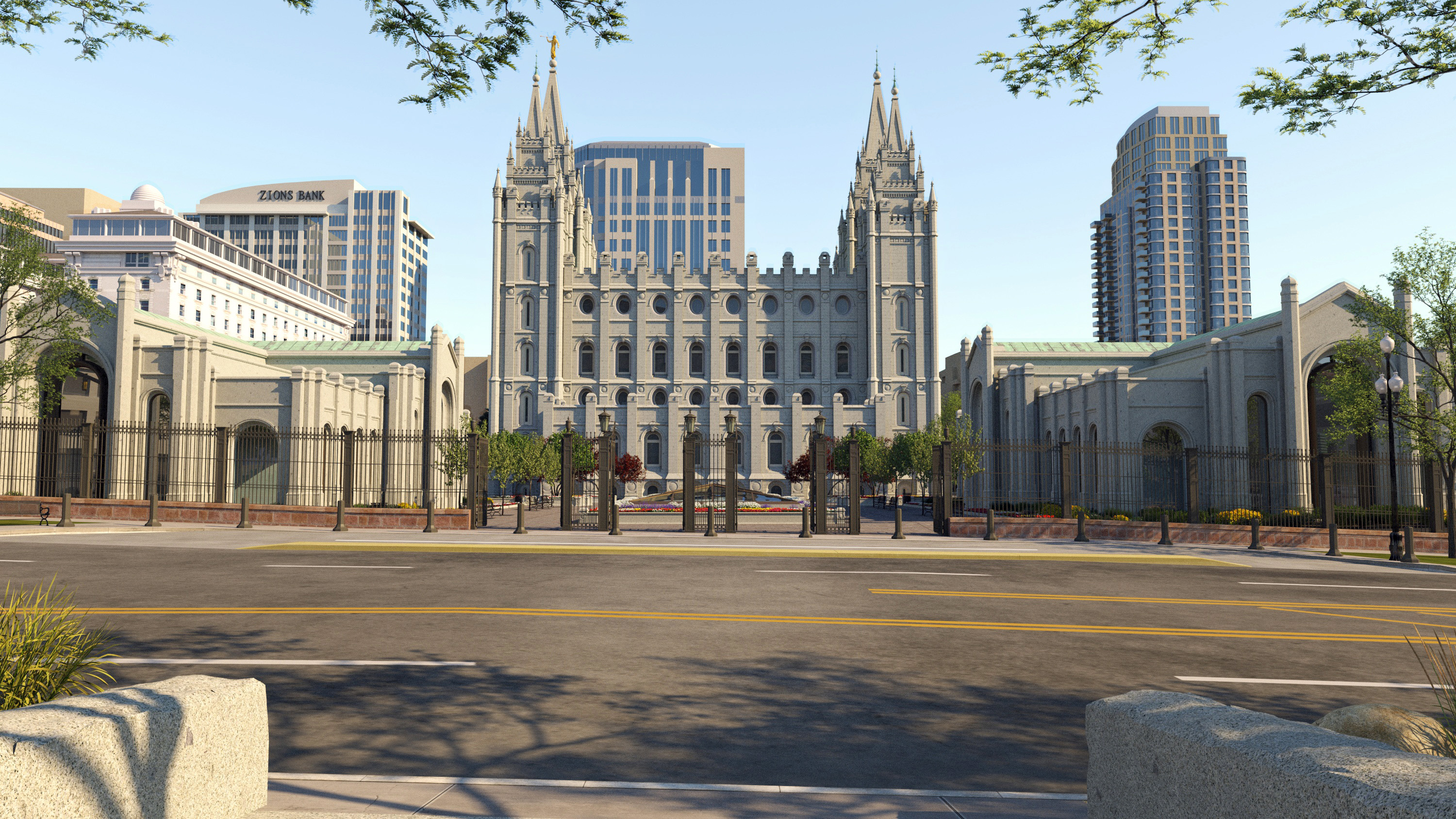 Rendering of the north side entry into Temple Square.