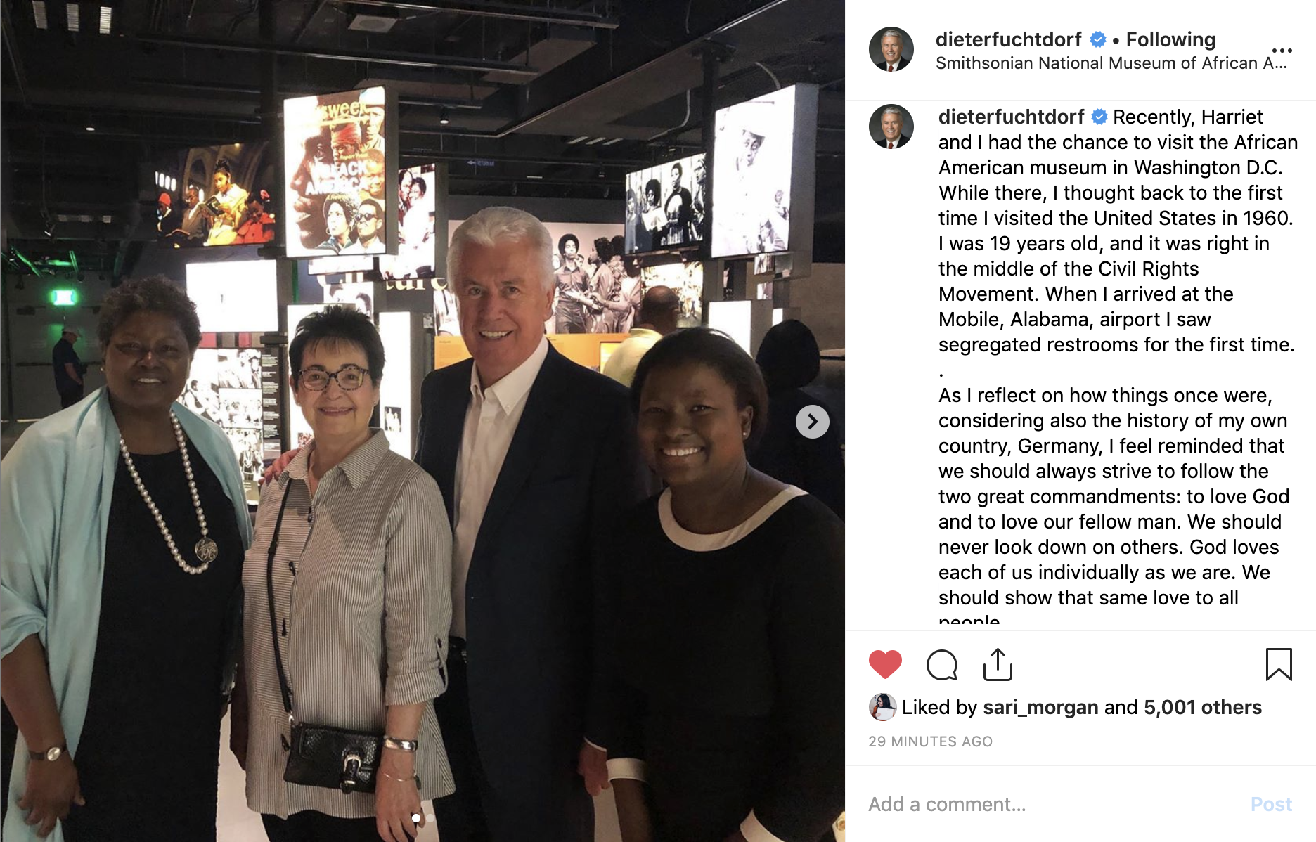 Elder Dieter F. Uchtdorf of the Quorum of the Twelve Apostles visits the National Museum of African American History and Culture with his wife, Sister Harriet Uchtdorf.