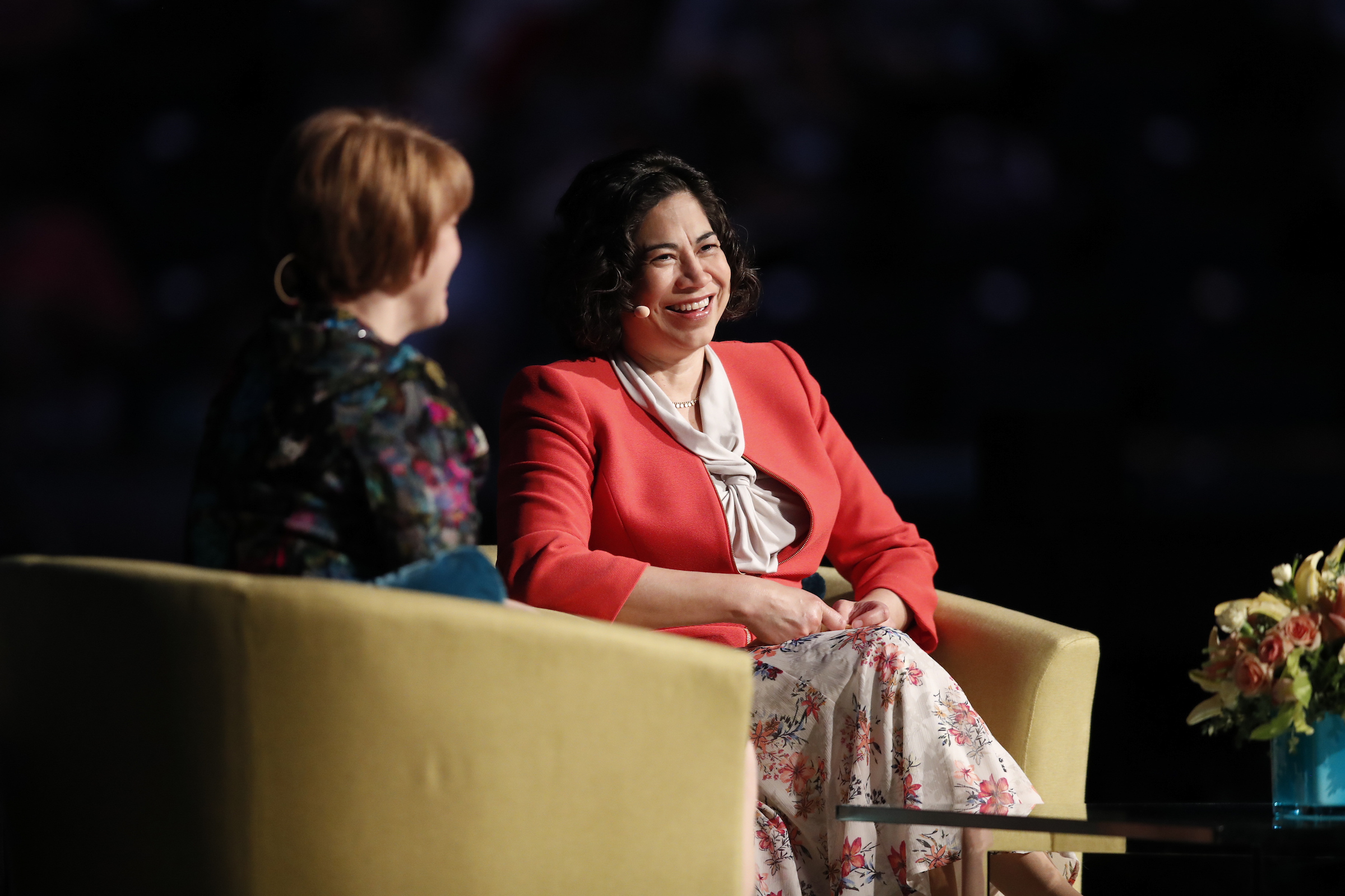 Sister Sharon Eubank and Sister Reyna Aburto of the Relief Society general presidency speak in the Marriott Center during BYU Women's Conference on May 3, 2018.