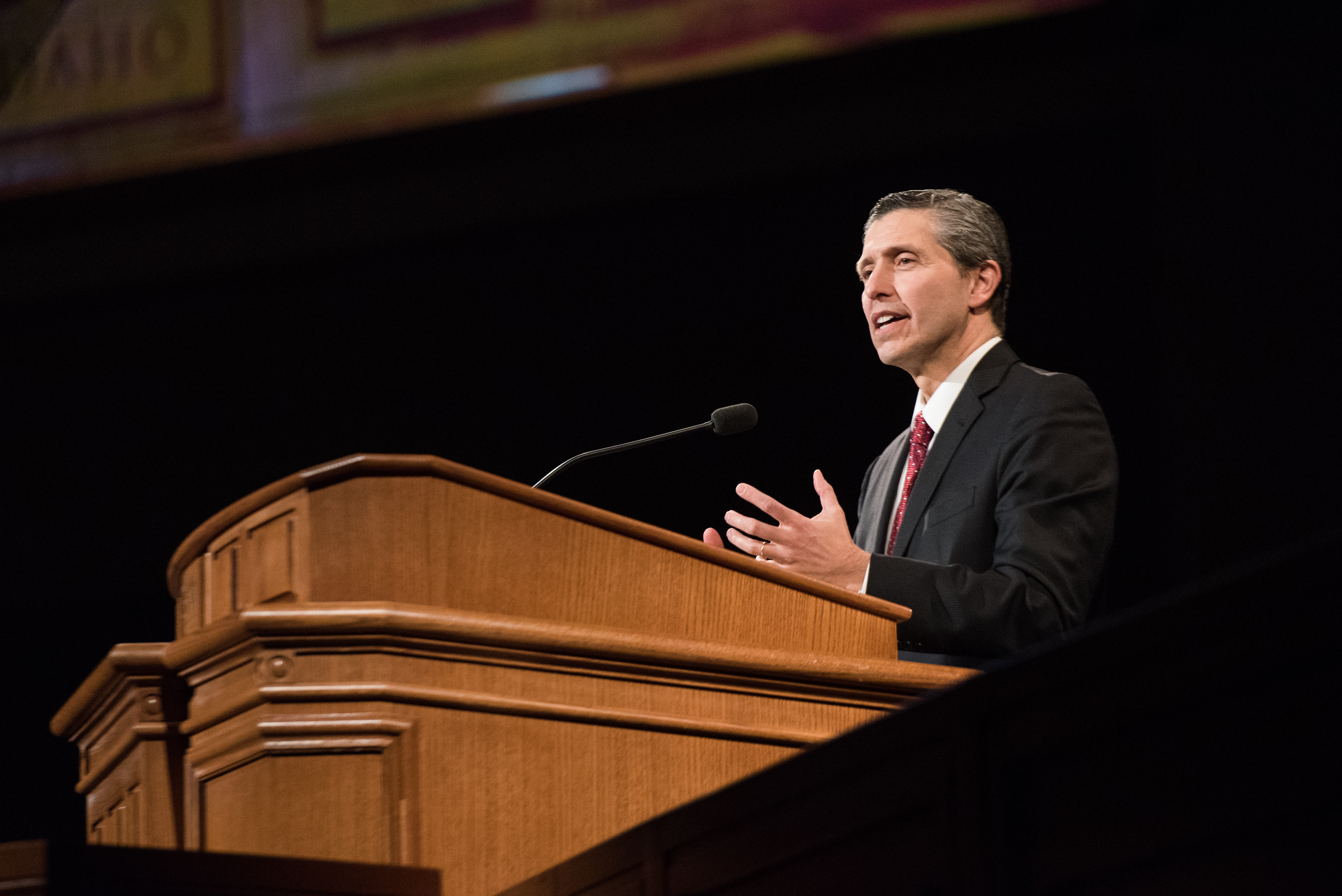 Elder Joaquin E. Costa speaks at a devotional at BYU–Idaho on Feb. 26.