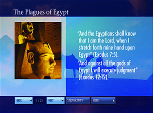 An interactive chart, one of 32 in DVD set, illustrates the plagues visited upon Egypt by the Lord when Pharaoh refused to obey the command issued through Moses.