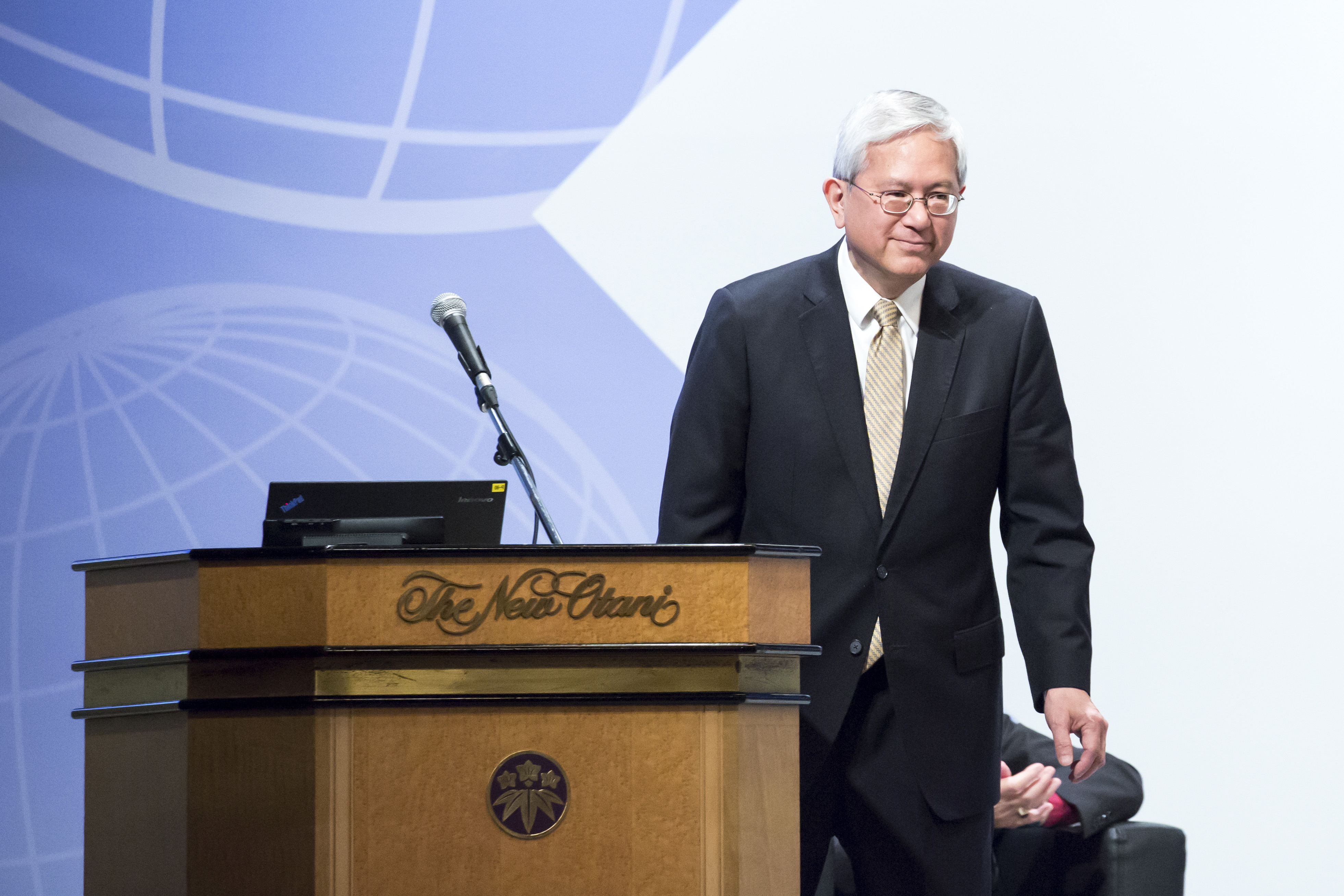 Elder Gerrit W. Gong of the Quorum of the Twelve Apostles of The Church of Jesus Christ of Latter-day Saints leaves the podium after delivering a speech during the G20 Interfaith Forum in Chiba, Japan, on Saturday, June 8, 2019.