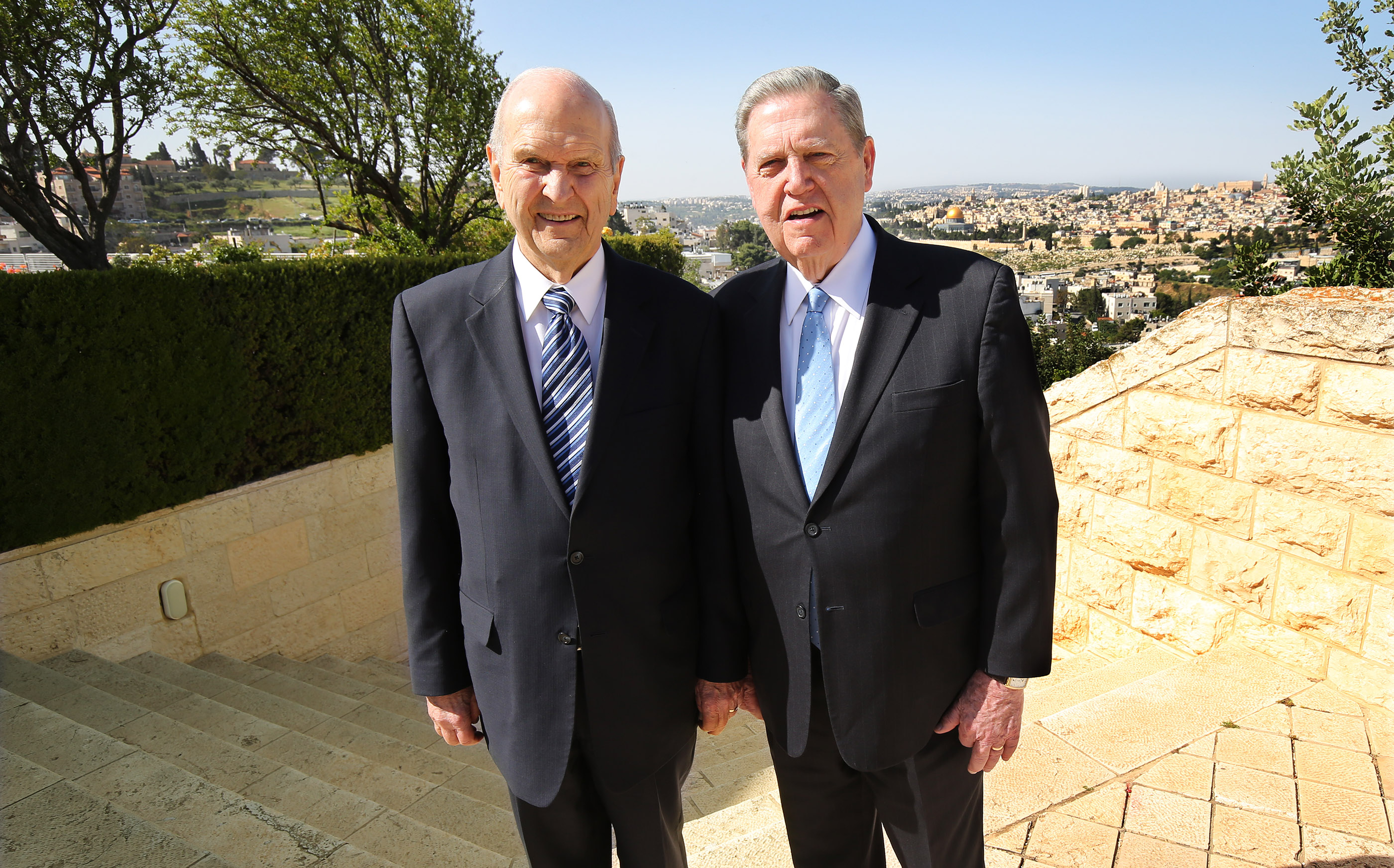 President Russell M. Nelson, president of The Church of Jesus Christ of Latter-day Saints, and Elder Jeffrey R. Holland, of Quorum of the Twelve Apostles, stand together at the BYU Jerusalem Center in Jerusalem on Saturday, April 14, 2018. President Nelson and Elder Holland are on a global tour of eight countries.