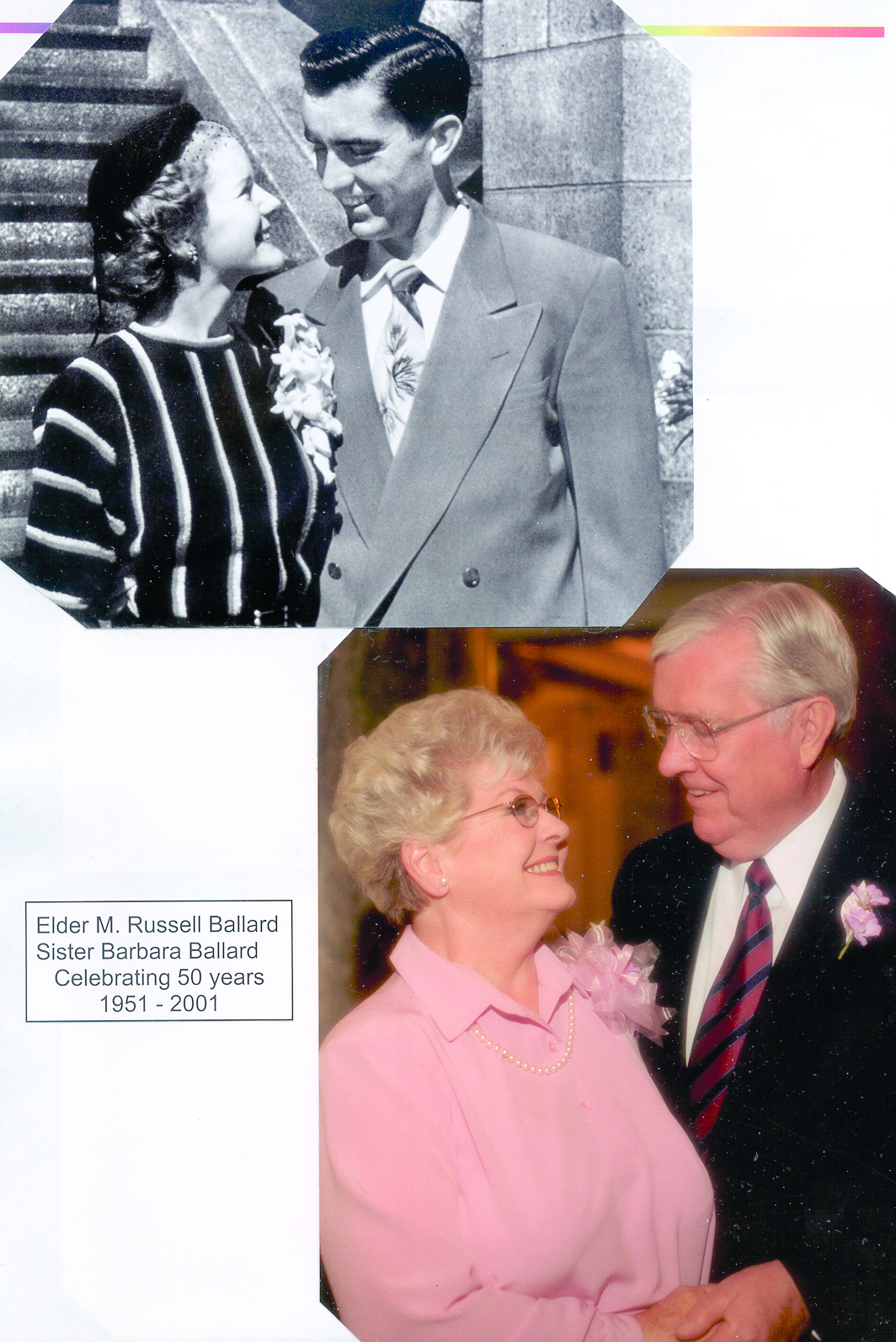 Photographs shared of Sister Barbara Bowen Ballard and President M. Russell Ballard during their 50th wedding anniversary celebration.