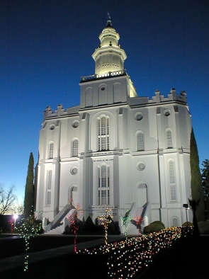 The St. George LDS Temple grounds are adorned with thousands of Christmas lights for the holiday season. The display will not be done during the temple's closure for renovations, from November 2019 to 2022.
