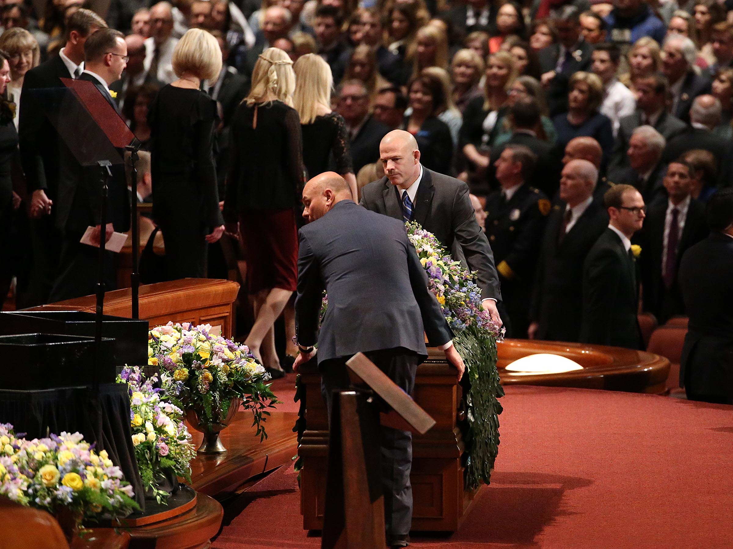 Church President Thomas S. Monson's casket it moved into the Conference Center in Salt Lake City on Friday, Jan. 12, 2018.