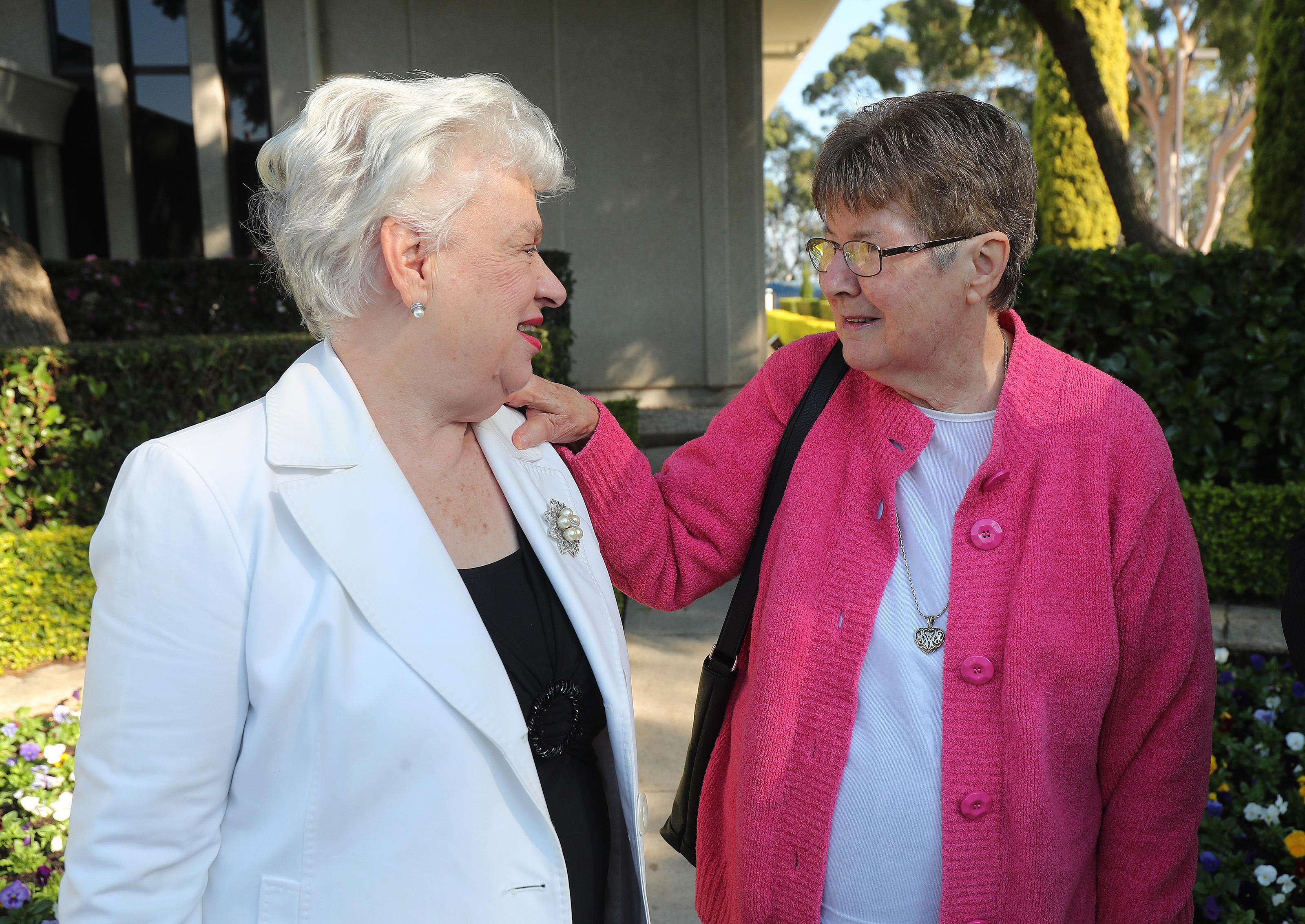 Friends Elva Merle Mitchell and Diane Parton talk on May 18, 2019, in Sydney, Australia.