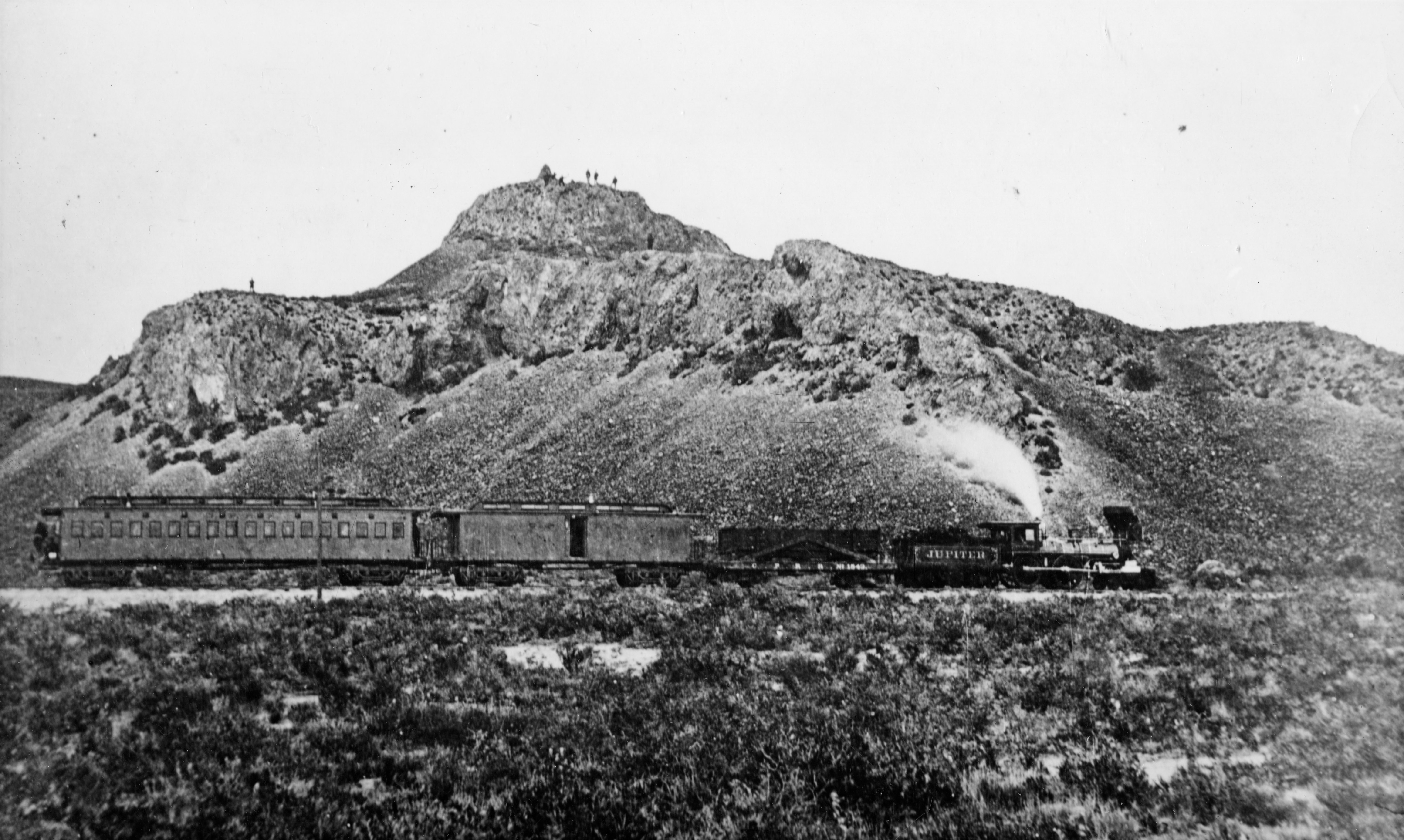 """Central Pacific Railroad's """"Jupiter""""/The Stanford Special travels near Promontory, Utah."""