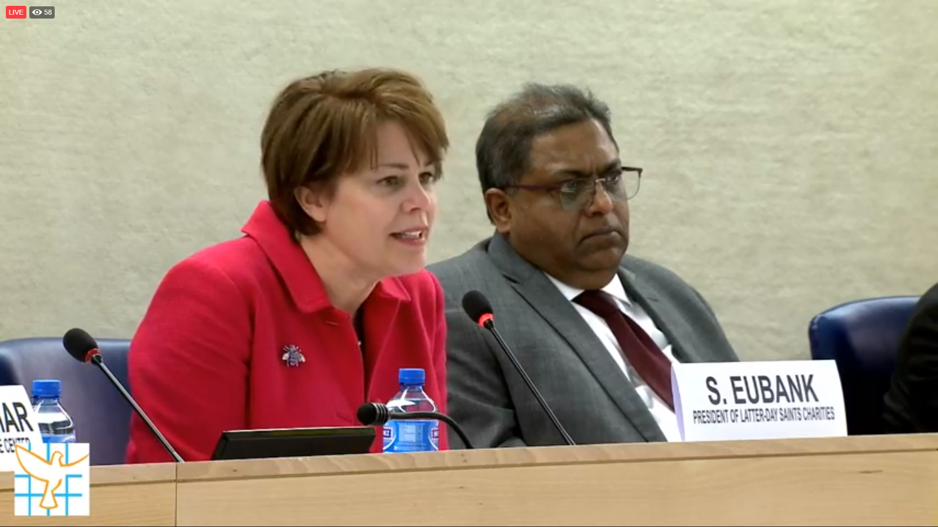 Livestream screenshot of Sister Sharon Eubank, director of LDS Charities and first counselor in the Relief Society general presidency, speaking at the United Nations in Geneva, Switzerland, Monday, April 29, 2019.