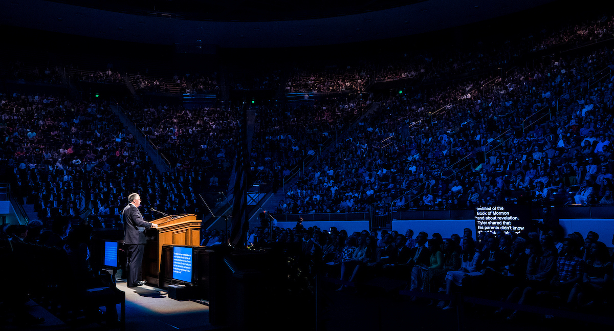Elder Neil L. Andersen speaks to students at BYU on April 10 during a campus devotional.