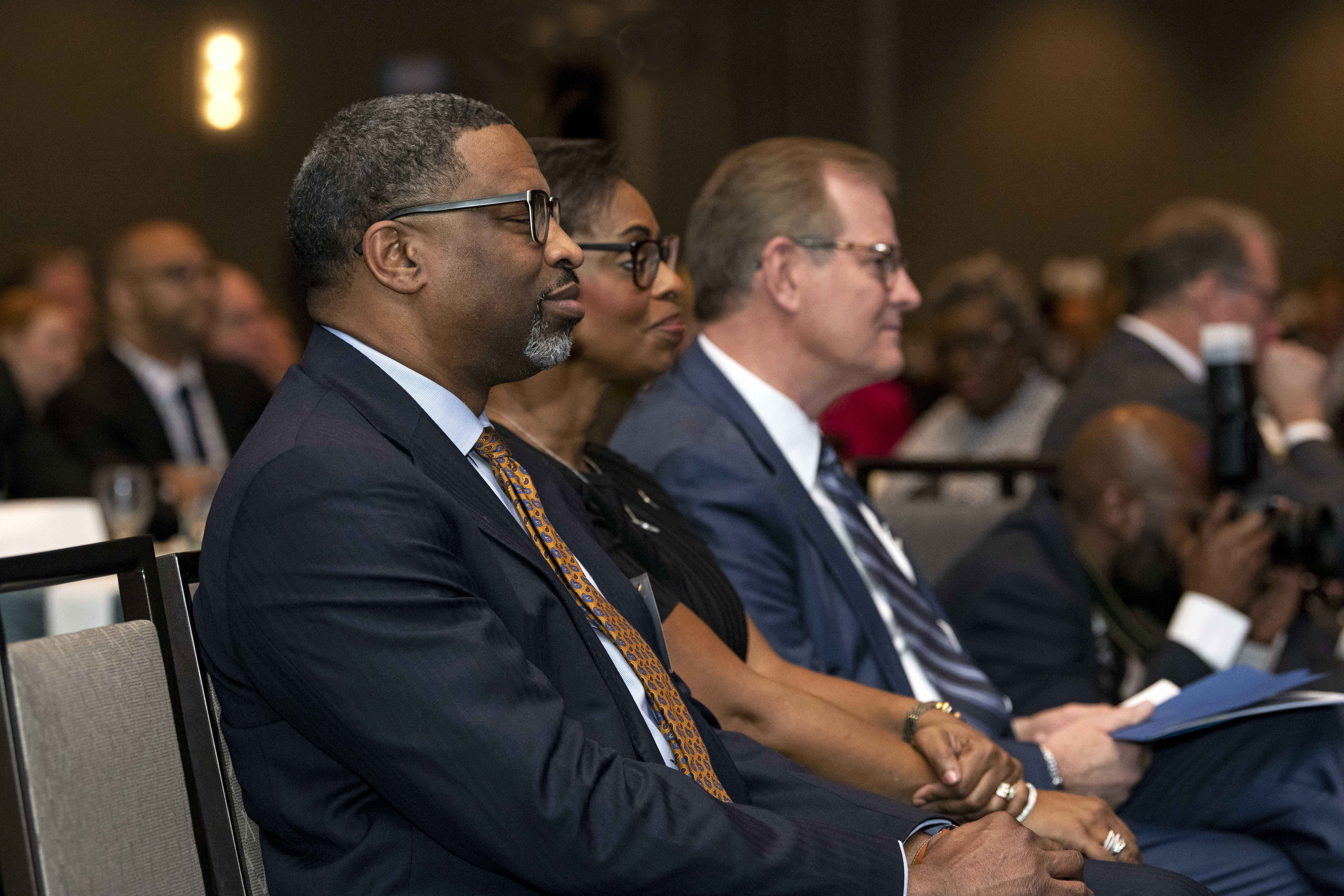 Elder Gary E. Stevenson of the Quorum of the Twelve Apostles with NAACP President and CEO Derrick Johnson and Karen Boykin-Towns, NAACP vice chair, at the BYU Management Society event in Washington, D.C., May 11, 2019.