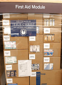 The LDS church is sending humanitarian assistance to Afgan refugees. Here is an example of their first aid module at the Central Bishops Storehouse, Monday, November 5, 2001. Photo/Johanna Workman
