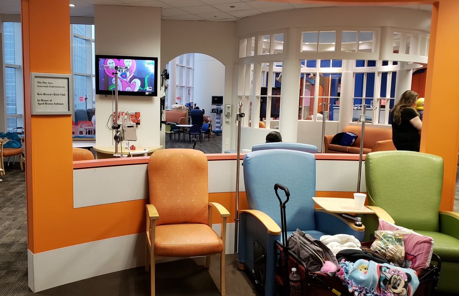 Children receive cancer treatment in colorful care spaces at Texas Children's Hospital.