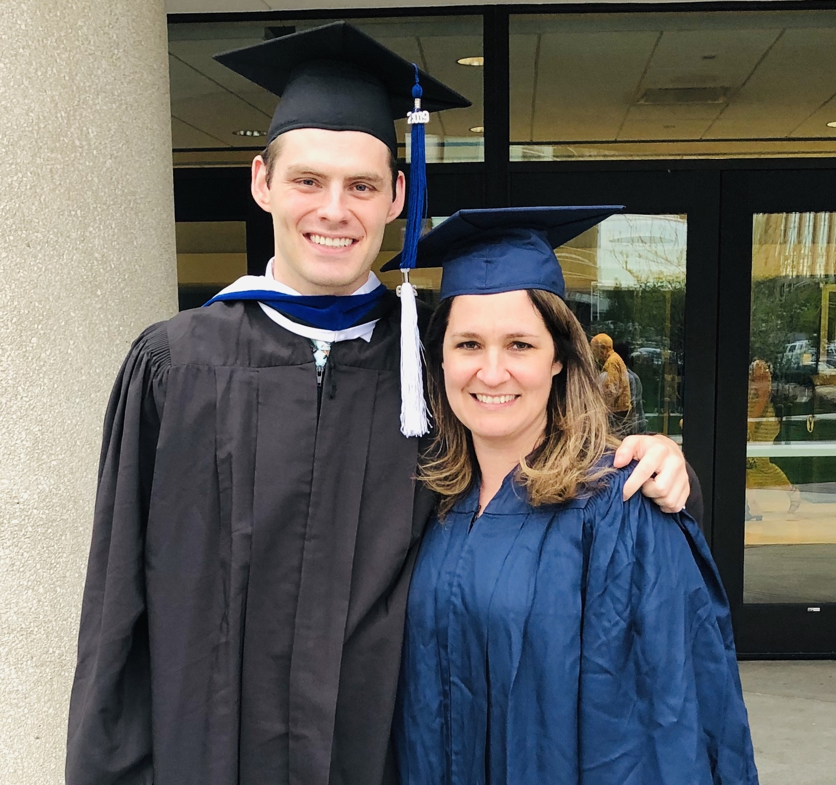 Blake Lawrence and his mother, Sheri Lawrence, both graduated recently from Brigham Young University. Sheri dropped out of BYU 25 years ago when she was expecting Blake.