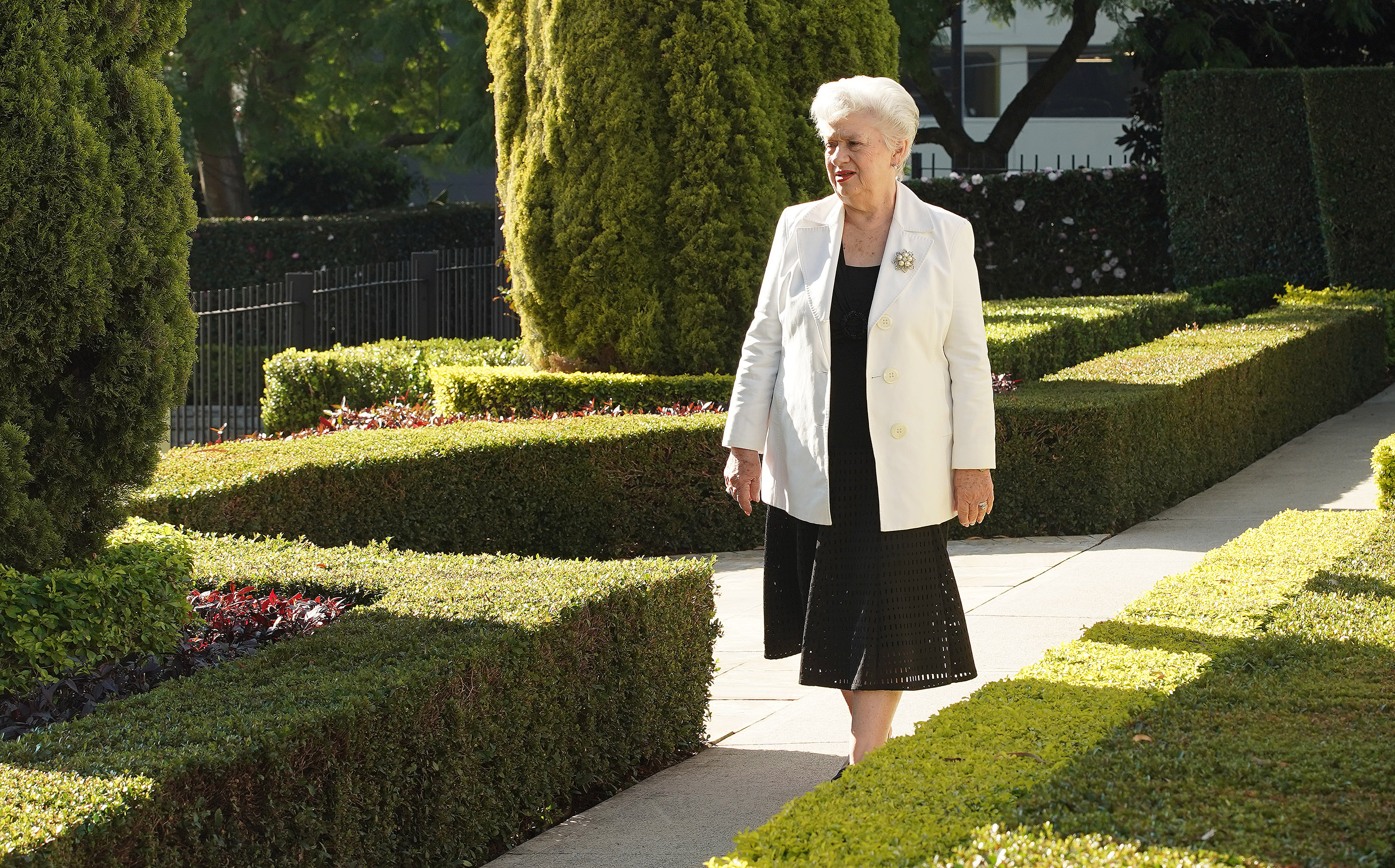 Elva Merle Mitchell walks the grounds at the Sydney Australia Temple on May 18, 2019, in Sydney, Australia.
